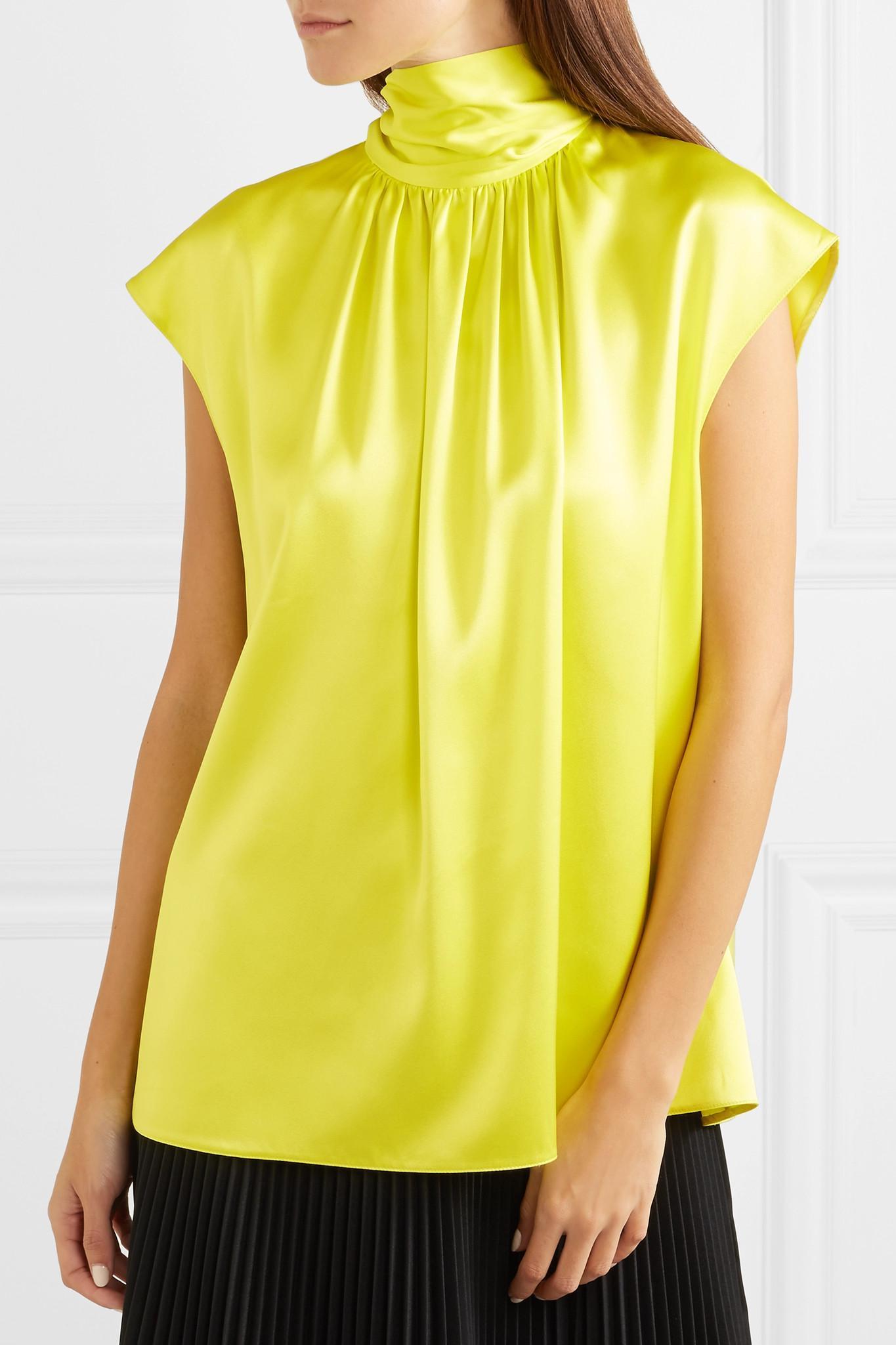 53633cfc0a6a5 Prada - Yellow Gathered Neon Silk-satin Blouse - Lyst. View fullscreen
