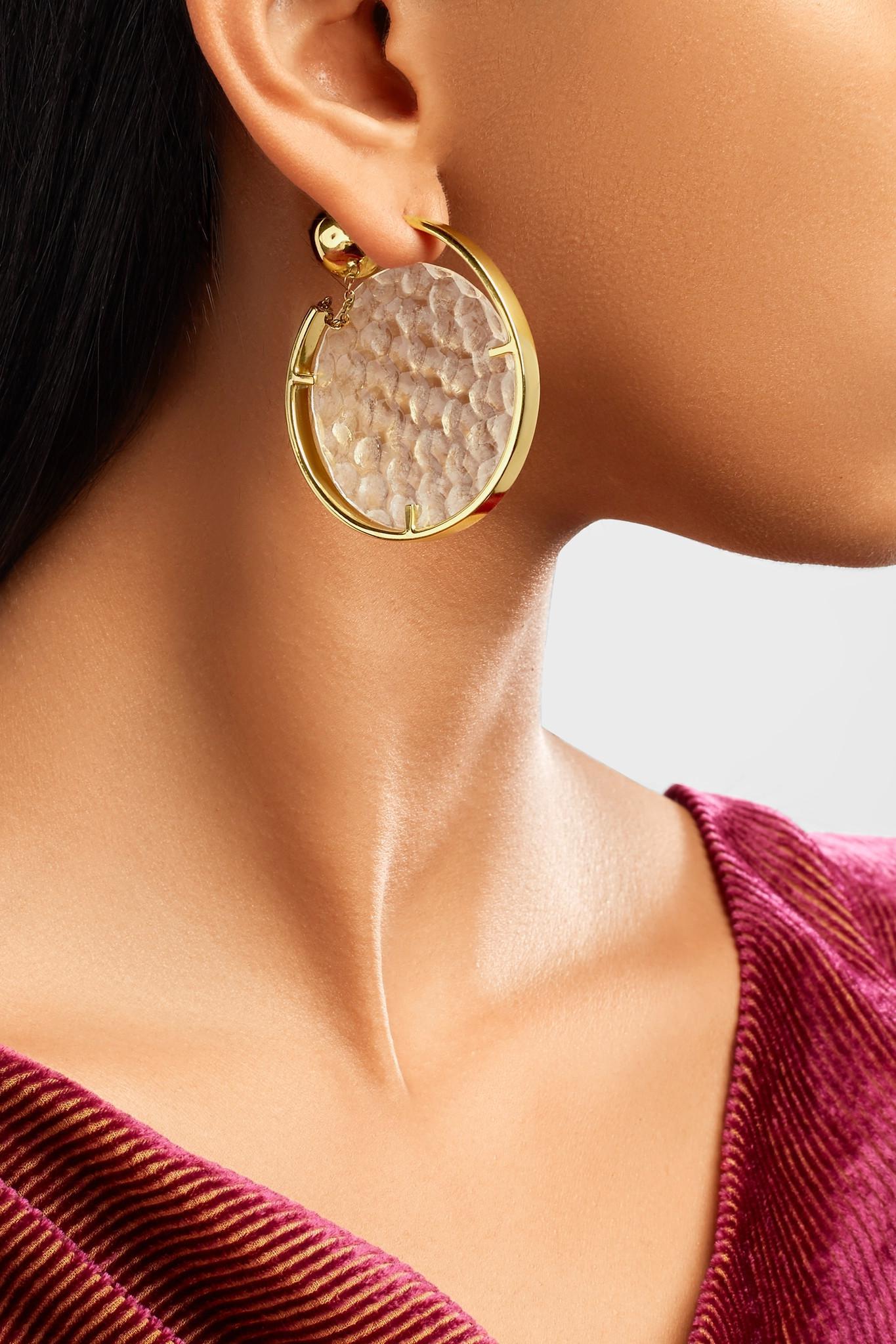 Ellery Low Art Revolving Gold-plated And Resin Hoop Earring 2j8p8