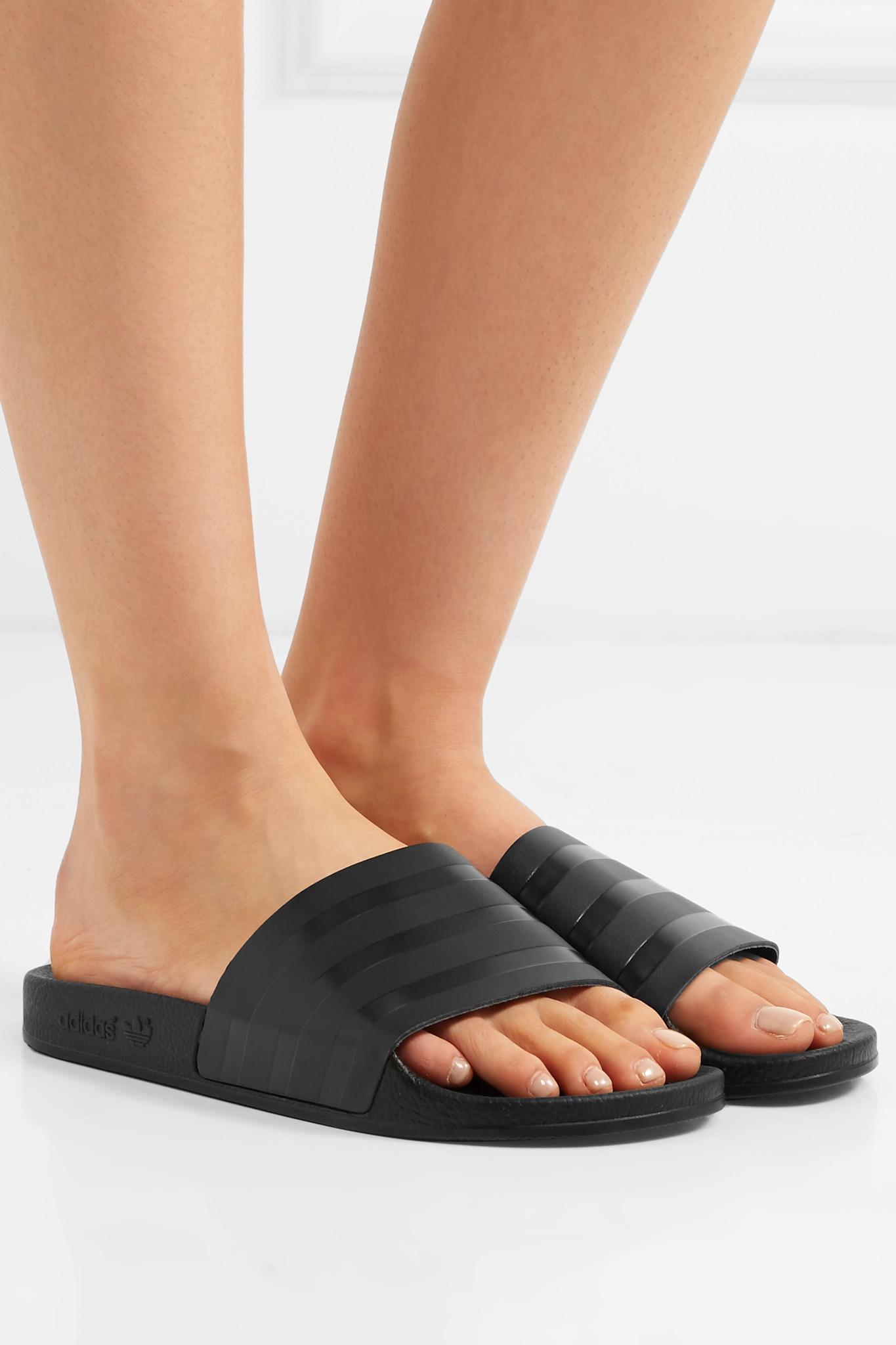 1a51441481da adidas Originals Adilette Striped Leather Slides in Black - Lyst