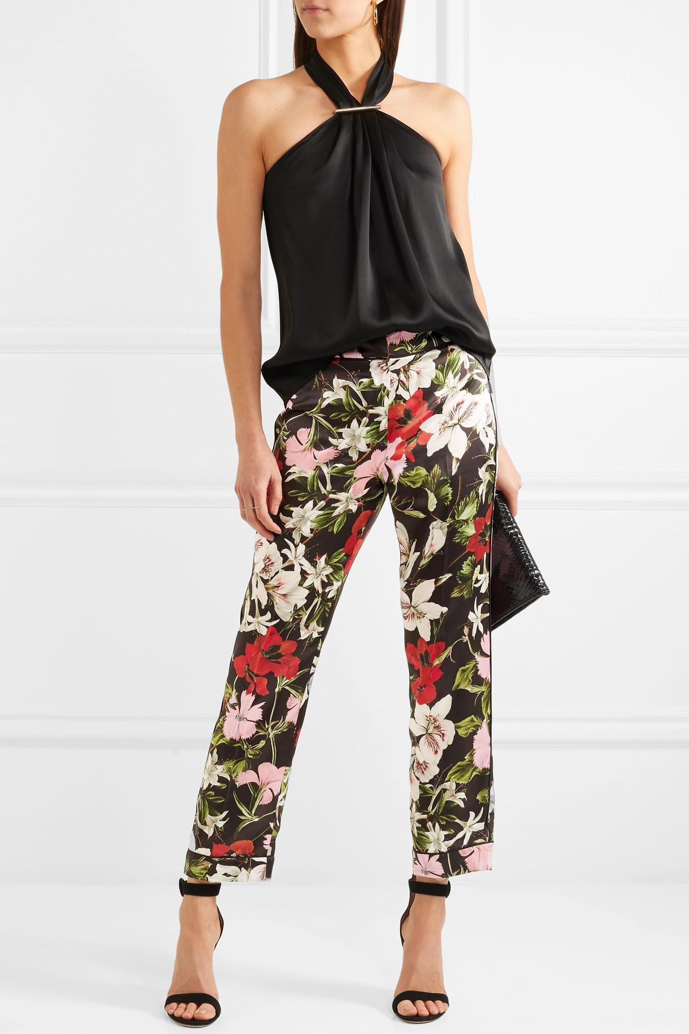 Ginnie Cropped Floral-print Silk-satin Straight-leg Pants - Black Erdem Outlet Inexpensive FwCrCq8