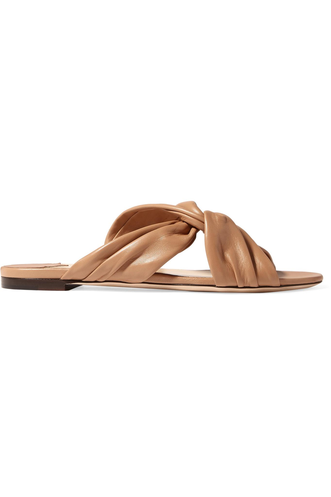 2d28a4374f42 Lyst - Jimmy Choo Leila Knotted Leather Slides in Brown