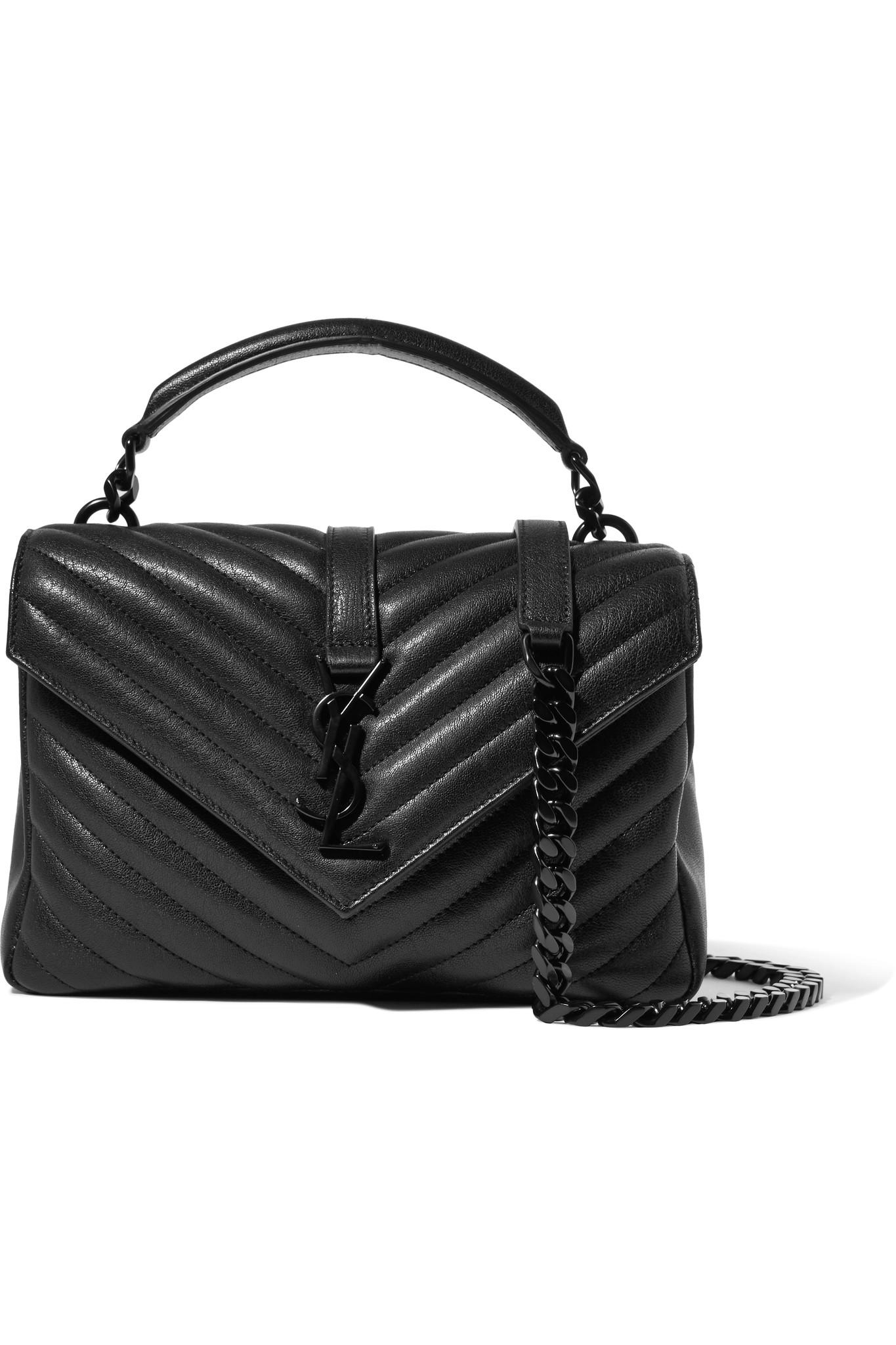 60f949c8d8 Saint Laurent. Women s Black College Medium Quilted Leather Shoulder Bag