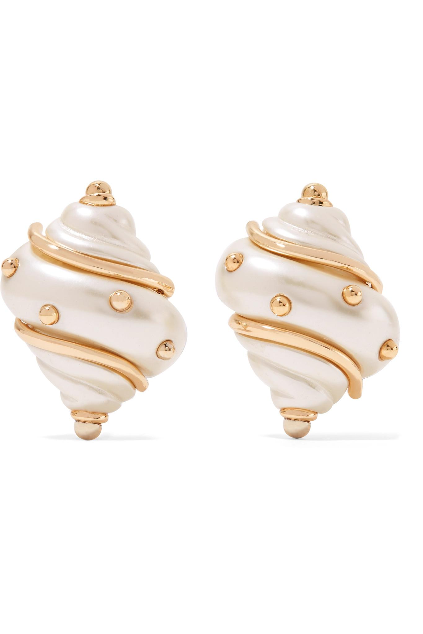 Gold-plated Faux Pearl Earrings - White Kenneth Jay Lane QPLTz02d