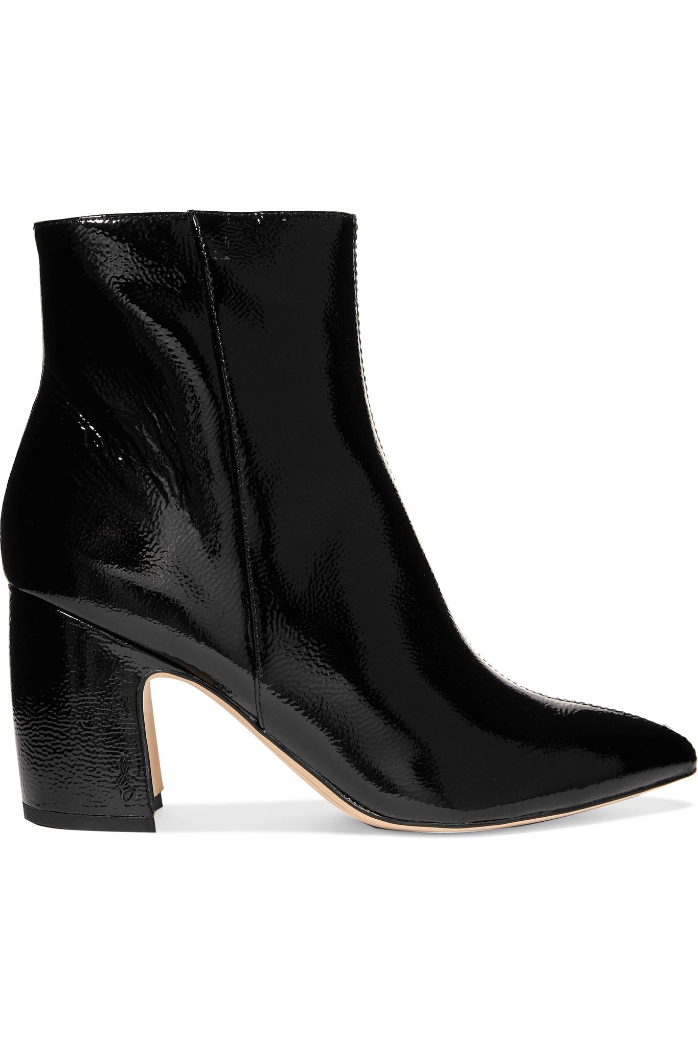 95c1345b8fd Sam Edelman Hilty Patent-leather Ankle Boots in Black - Lyst