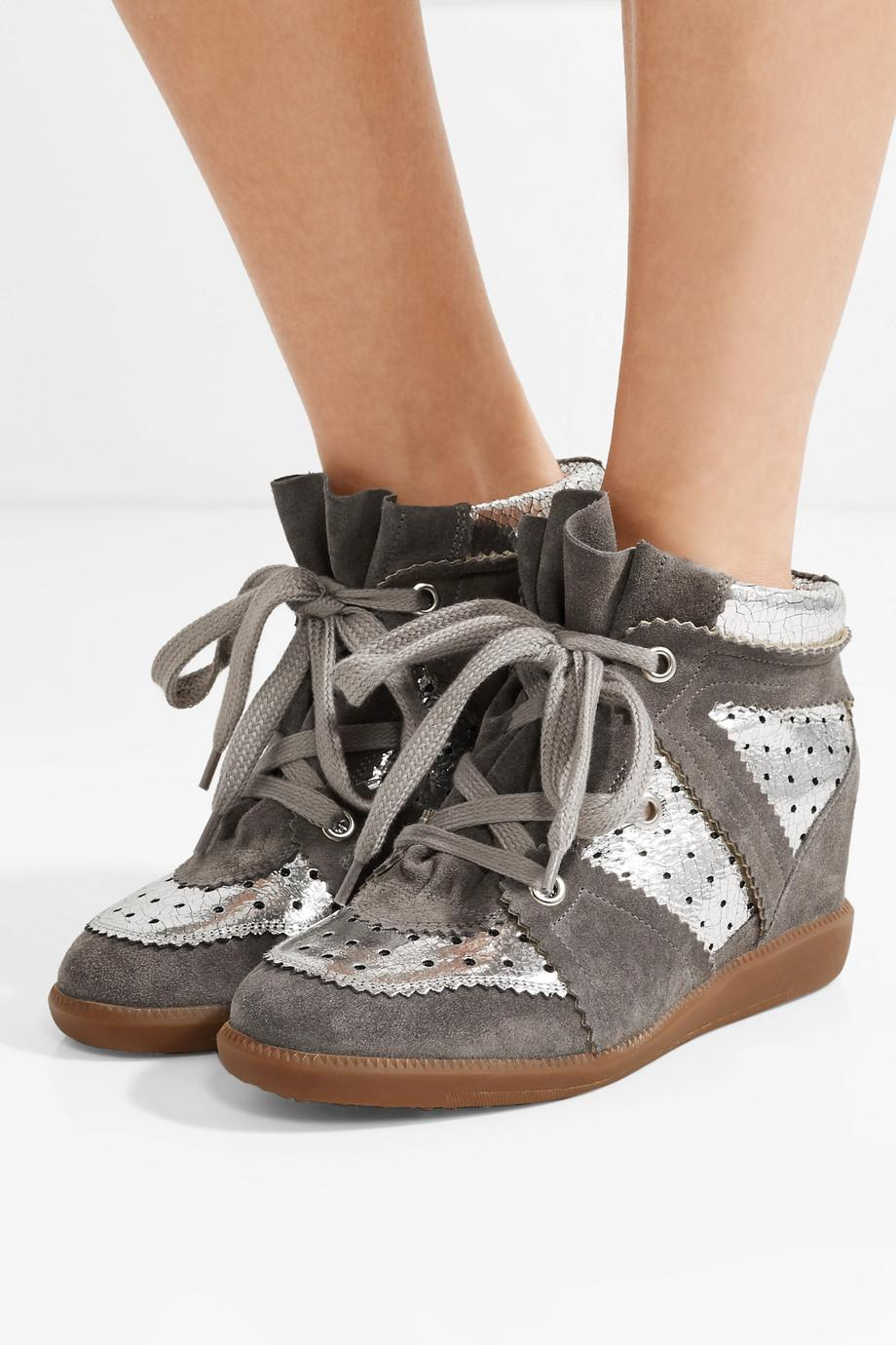 Bobby Perforated Metallic Leather And Suede Wedge Sneakers - Silver Isabel Marant fCw9h