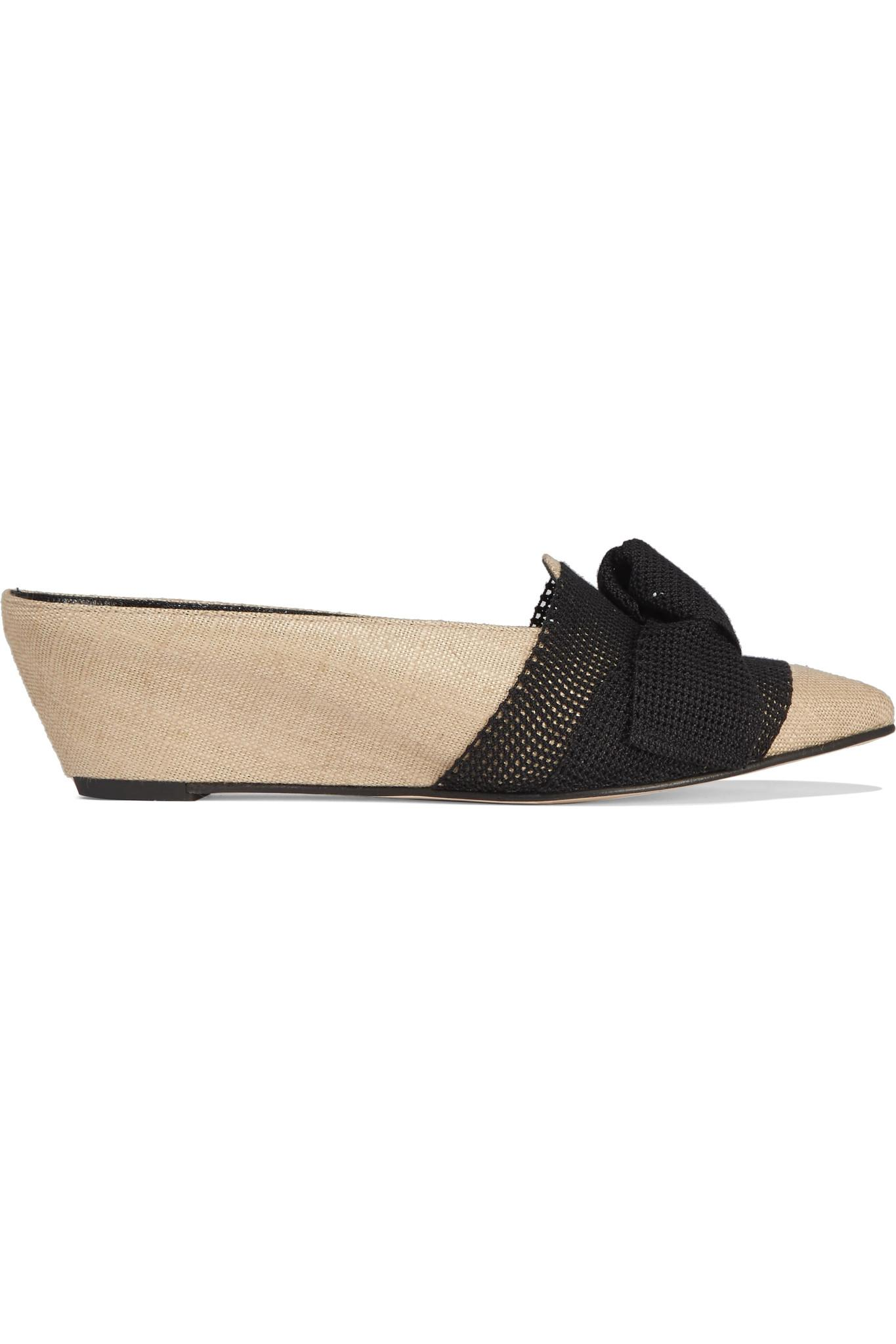 Adrien Bow-embellished Mesh And Jute Wedge Slippers - Neutral Trademark eL8i804hot
