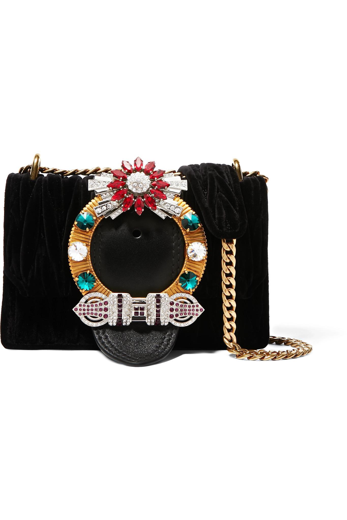 2cbbd519465c Lyst - Miu Miu Lady Velvet Crossbody Bag in Black