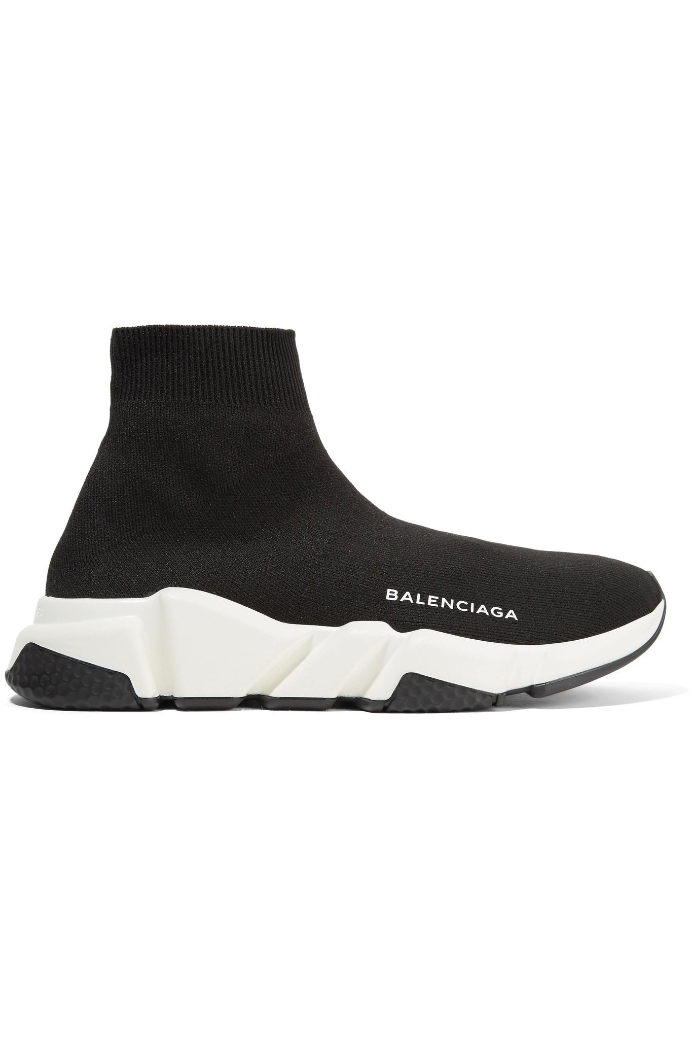 Balenciaga Speed Stretch-Knit High-Top Sneakers in Black ...