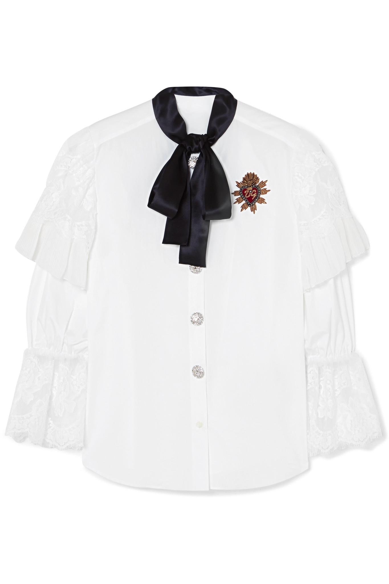 Browse Online Appliquéd Lace-trimmed Cotton-blend Poplin Blouse - White Dolce & Gabbana Pick A Best Cheap Price Cheap Sale For Nice Cheapest Cheap Online oZZcn