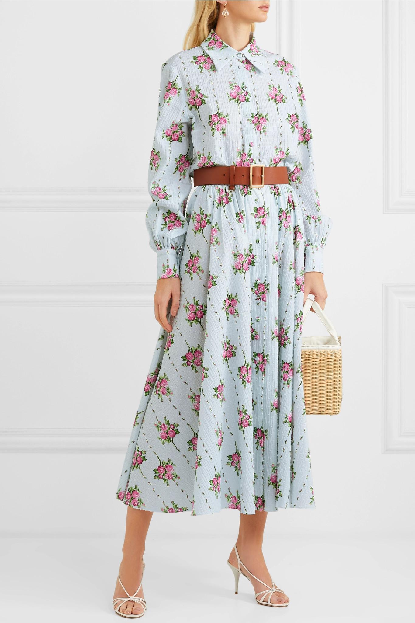 a1596cd8565a3b Lyst - Emilia Wickstead Floral-print Swiss-dot Cotton-blend ...