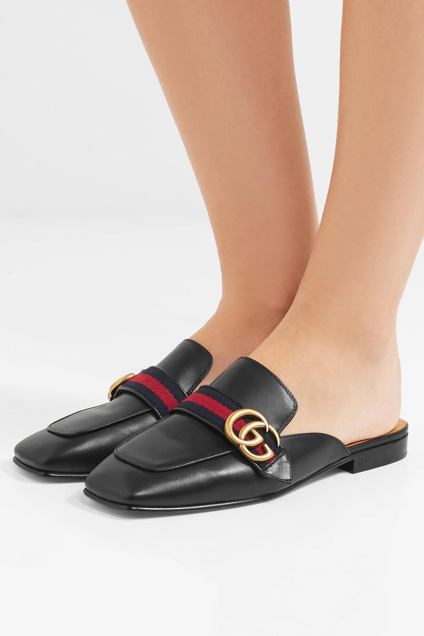 43602a8e6812 Gucci - Black Peyton Leather Slippers - Lyst. View fullscreen