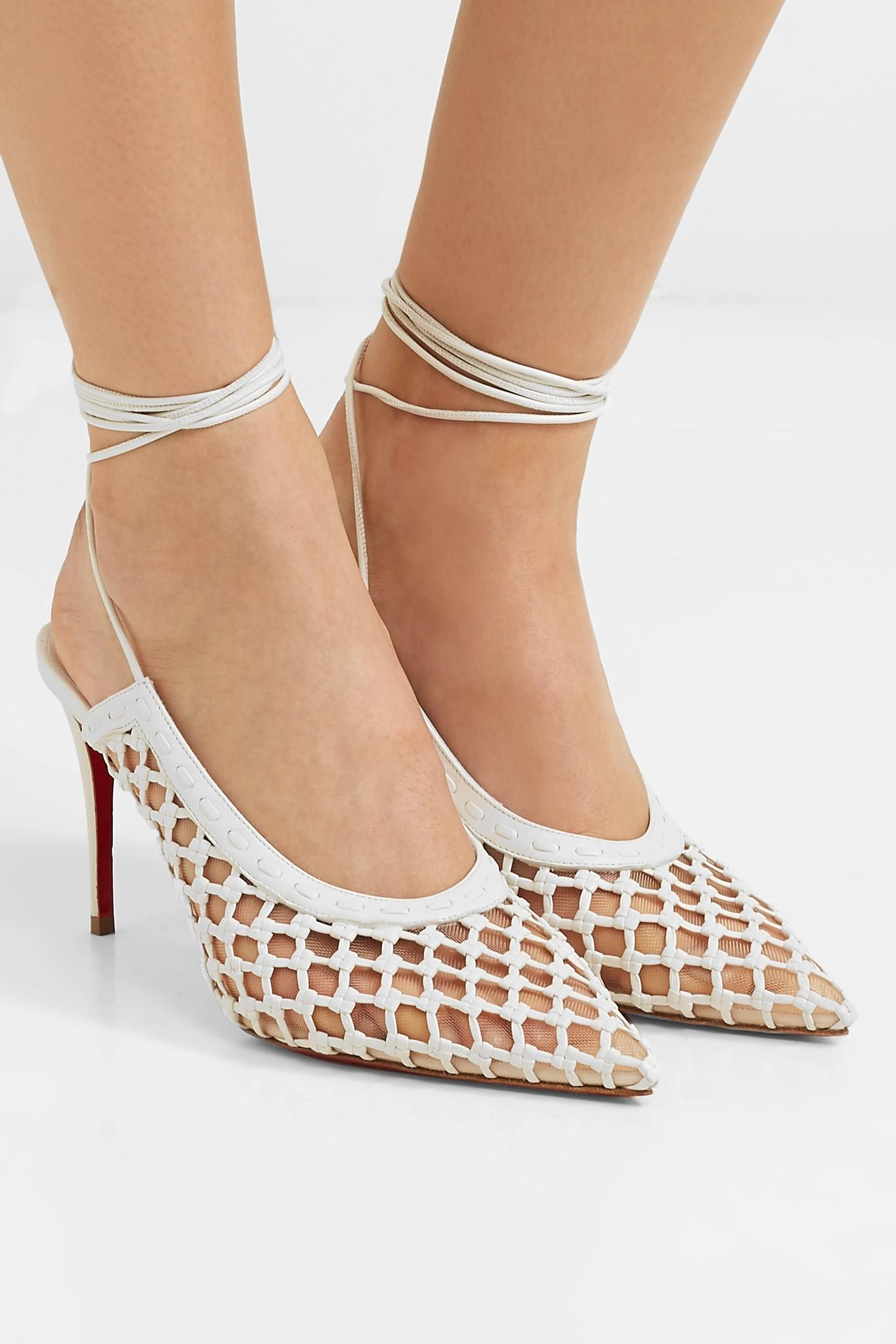 0ab9ecbd9df0 Christian Louboutin - White Roland Mouret Cage And Curry 85 Mesh And Woven  Leather Pumps -. View fullscreen