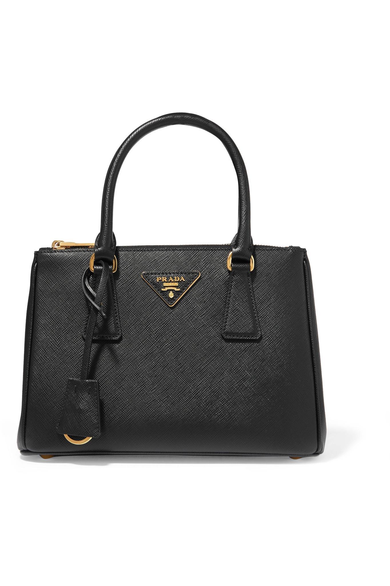 3b67eb3321c Prada - Black Galleria Mini Textured-leather Tote - Lyst. View fullscreen