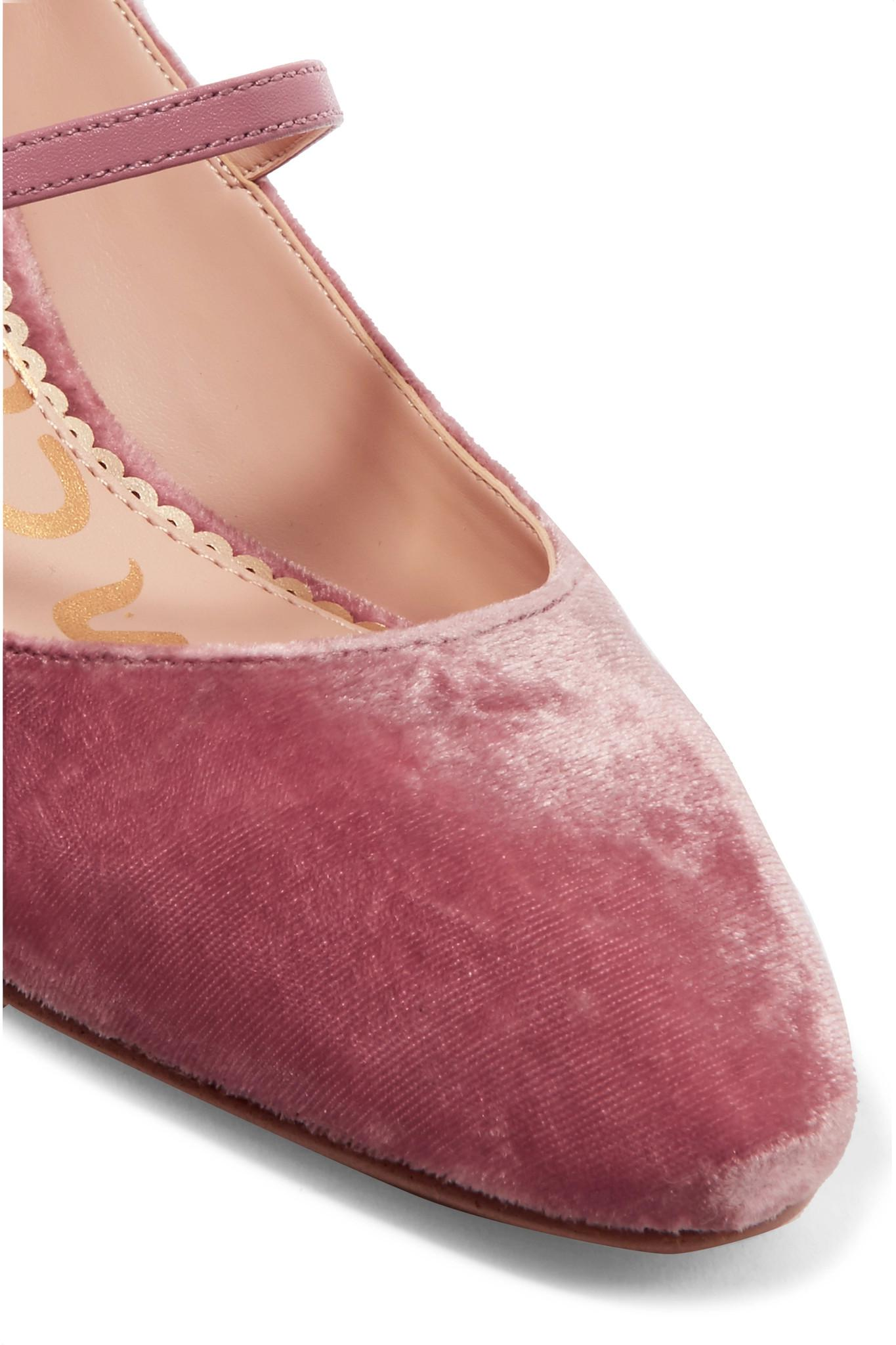1926ec8762d3a Lyst - Sam Edelman Lulie Leather-trimmed Velvet Pumps in Pink