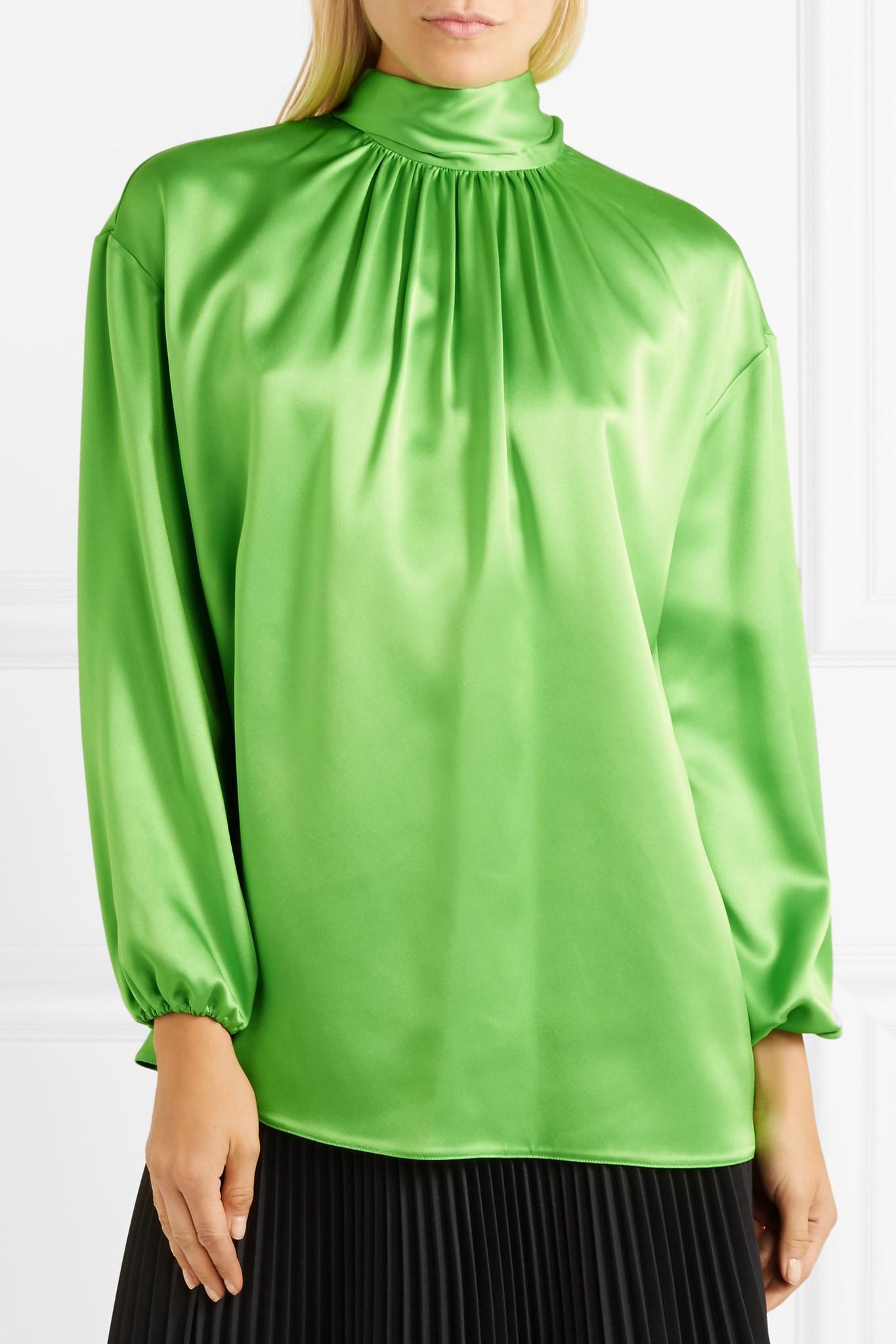 c1fc60313e019 Prada - Green Gathered Neon Silk-satin Blouse - Lyst. View fullscreen