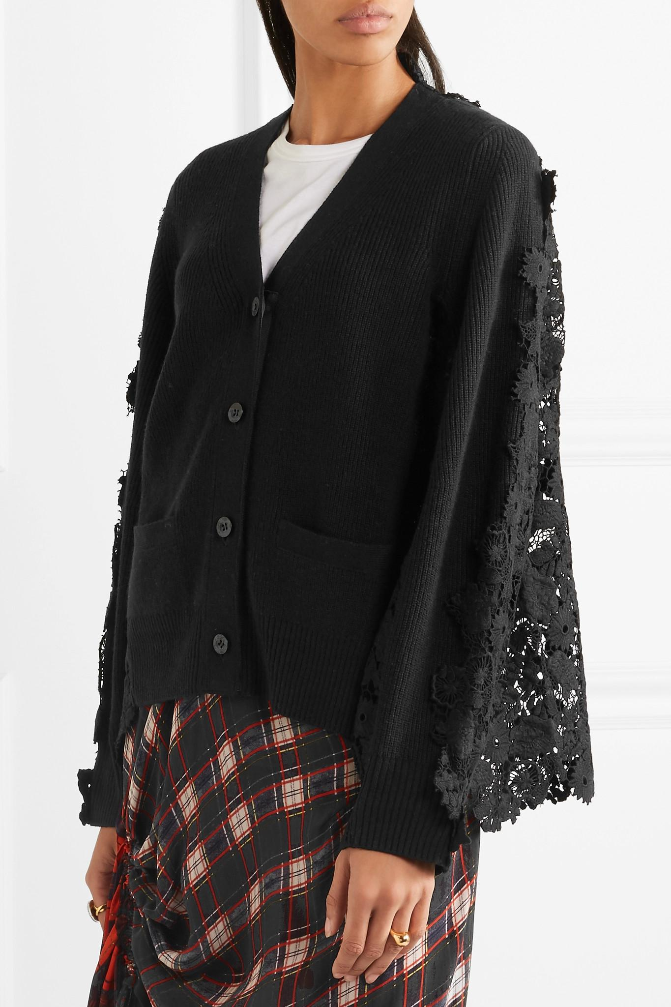 Sacai Flower Chemical Wool And Cotton-lace Cardigan in Black | Lyst