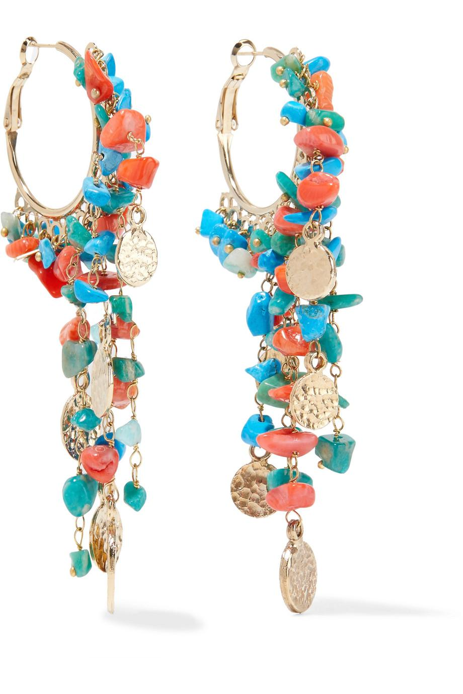 Vento Gold-tone Beaded Hoop Earrings - Blue Rosantica wAYMLfx