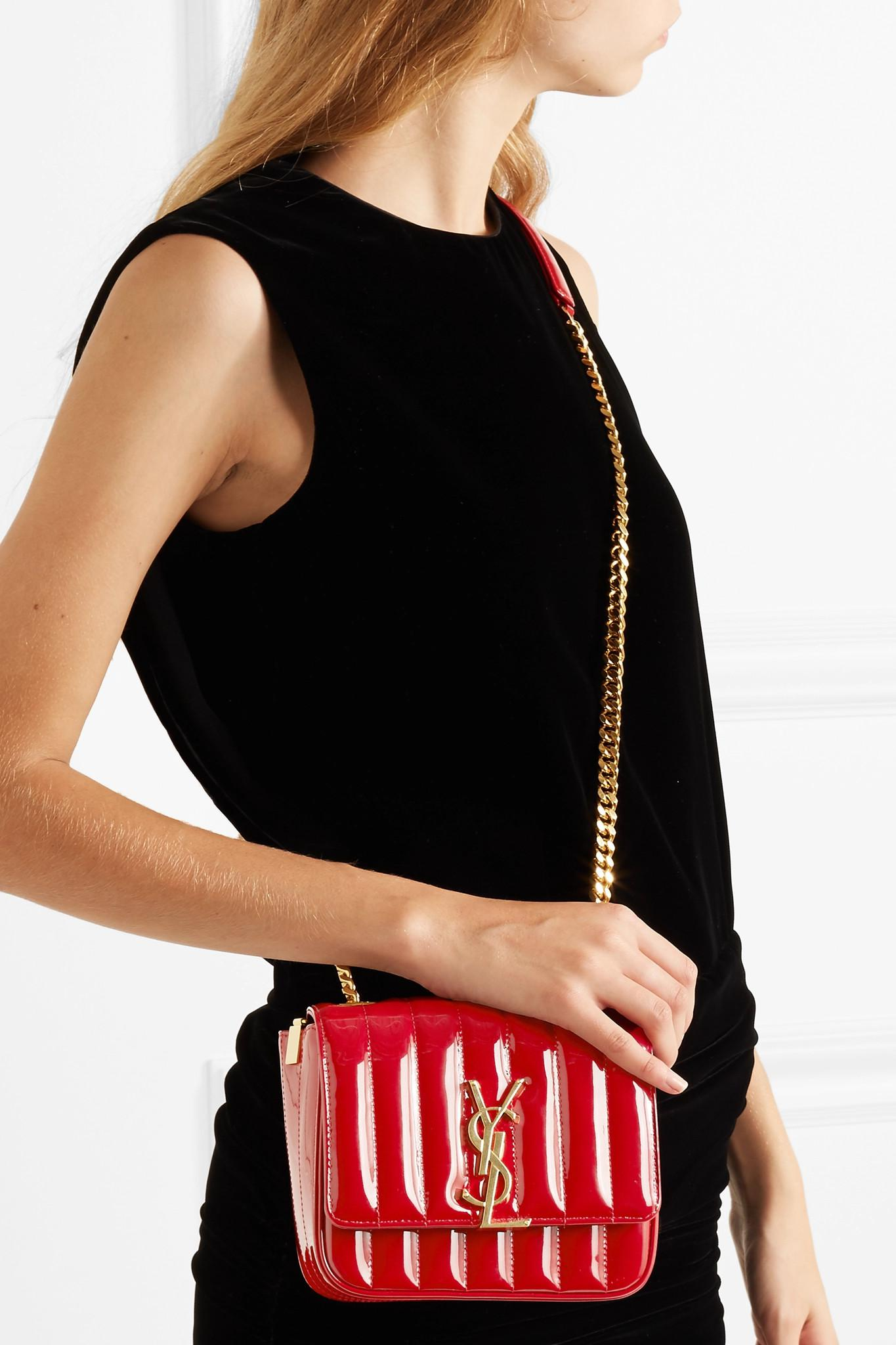 c4357af479 Saint Laurent - Red Vicky Small Quilted Patent-leather Shoulder Bag - Lyst.  View fullscreen