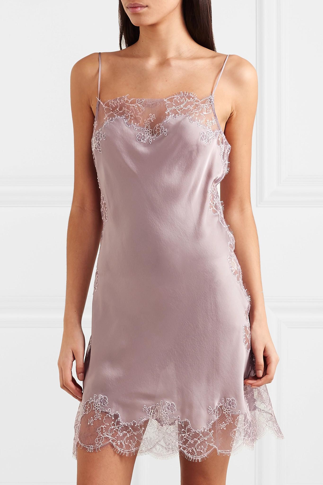 745cbf8719fa5 Carine Gilson - Purple Chantilly Lace-trimmed Silk-satin Chemise - Lyst.  View fullscreen