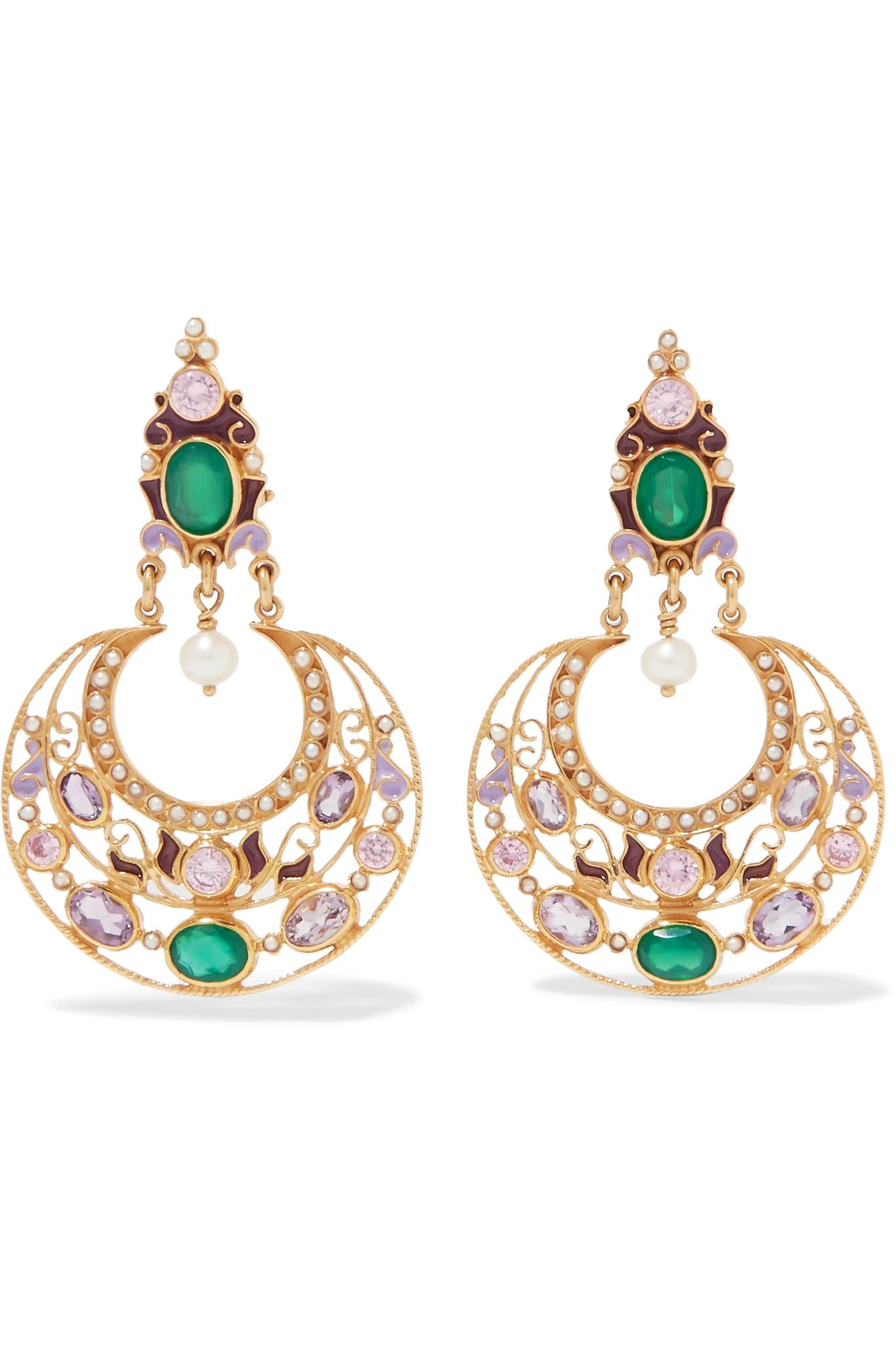 Percossi Papi Gold-plated And Enamel Multi-stone Clip Earrings - Turquoise 8pFn06ky