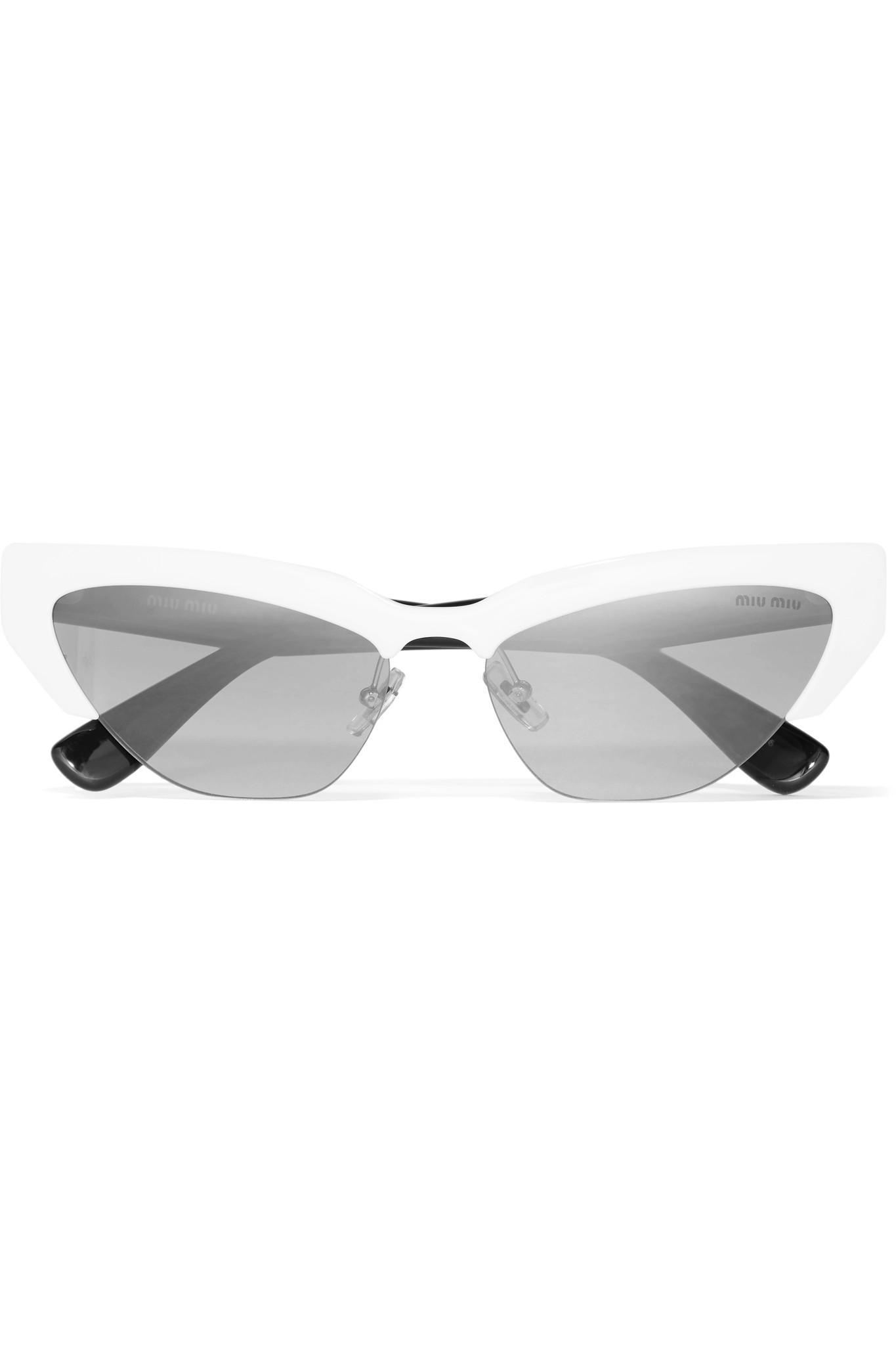 b2544951345 Miu Miu 0mu 04us 59mm Cat Eye Mirror Sunglasses in Gray - Save 28 ...