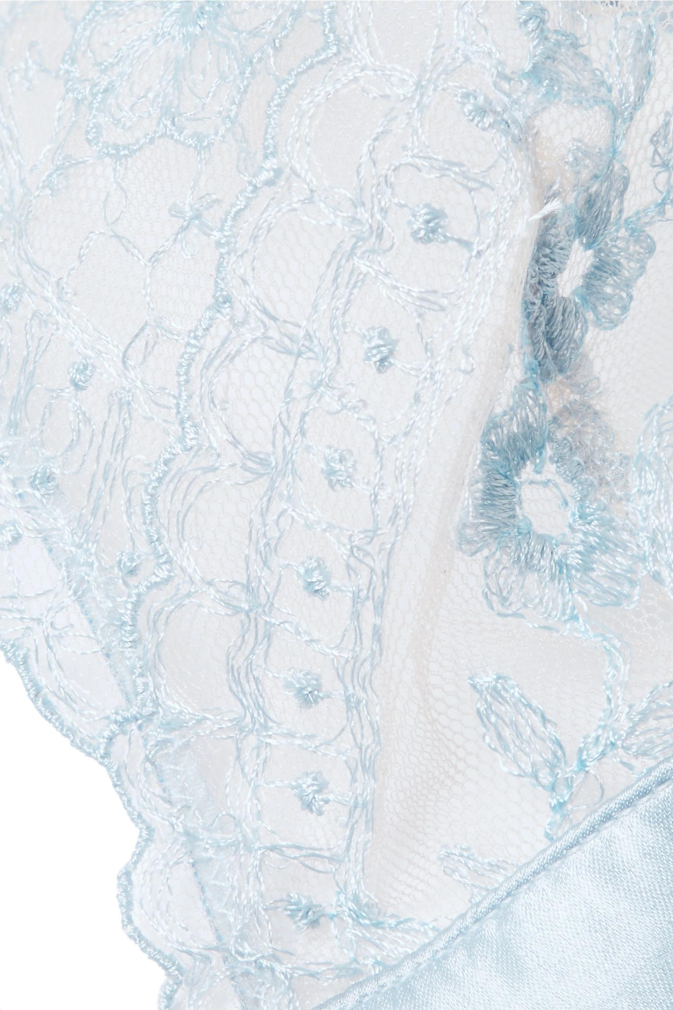 Célestine Embroidered Tulle And Satin Soft-cup Triangle Bra - Sky blue I.D. Sarrieri Online Cheap Quality 6PuGVKWAM