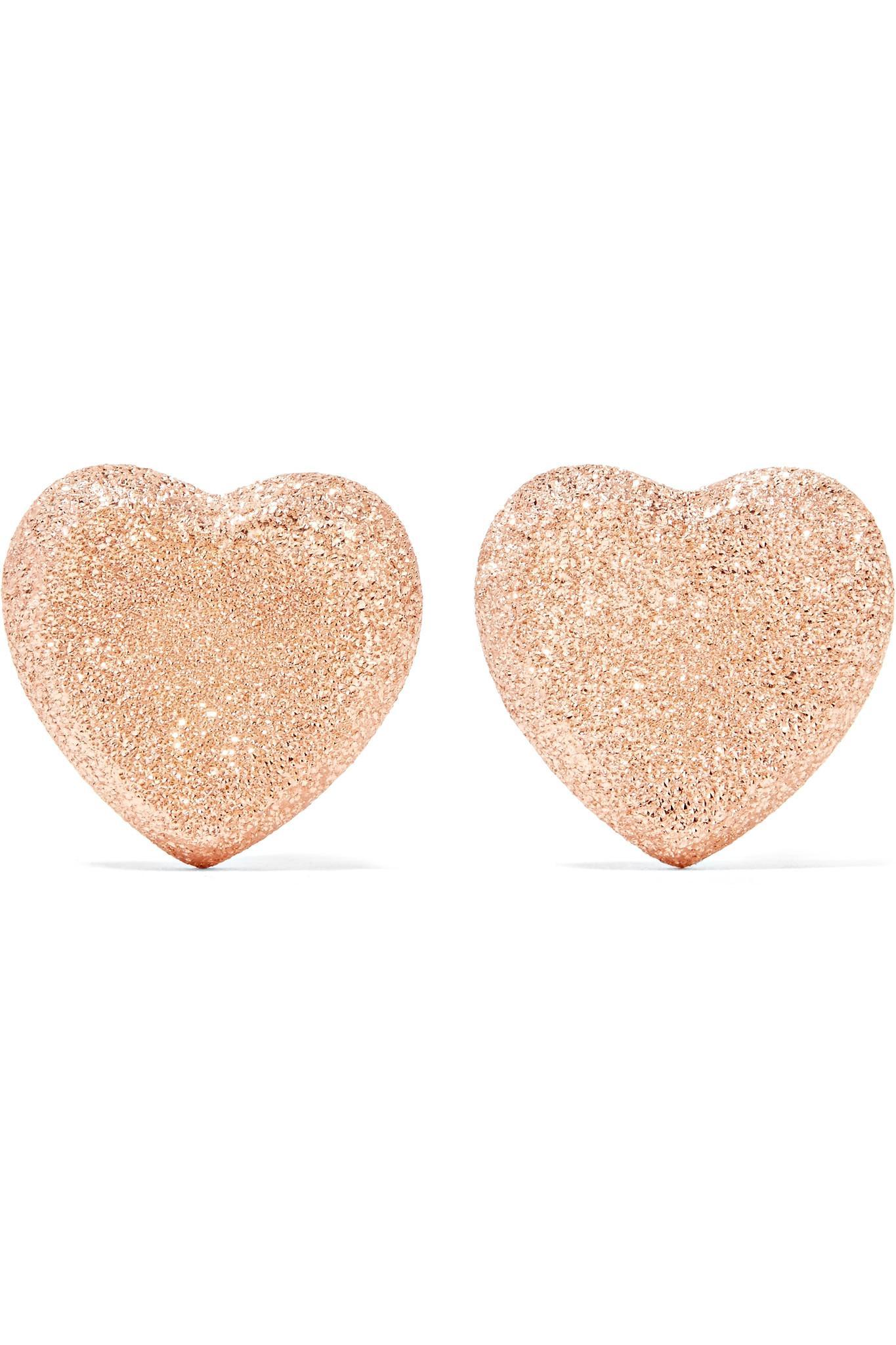 Heart 18-karat Rose Gold Earrings - one size Carolina Bucci bgZDPd
