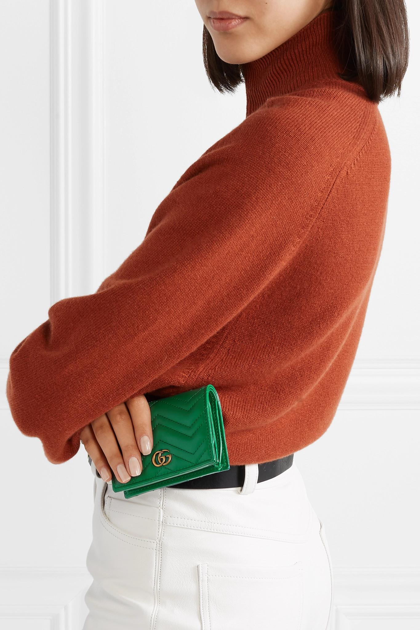 c0ad0a1022088 Gucci - Green Gg Marmont Small Quilted Leather Wallet - Lyst. View  fullscreen
