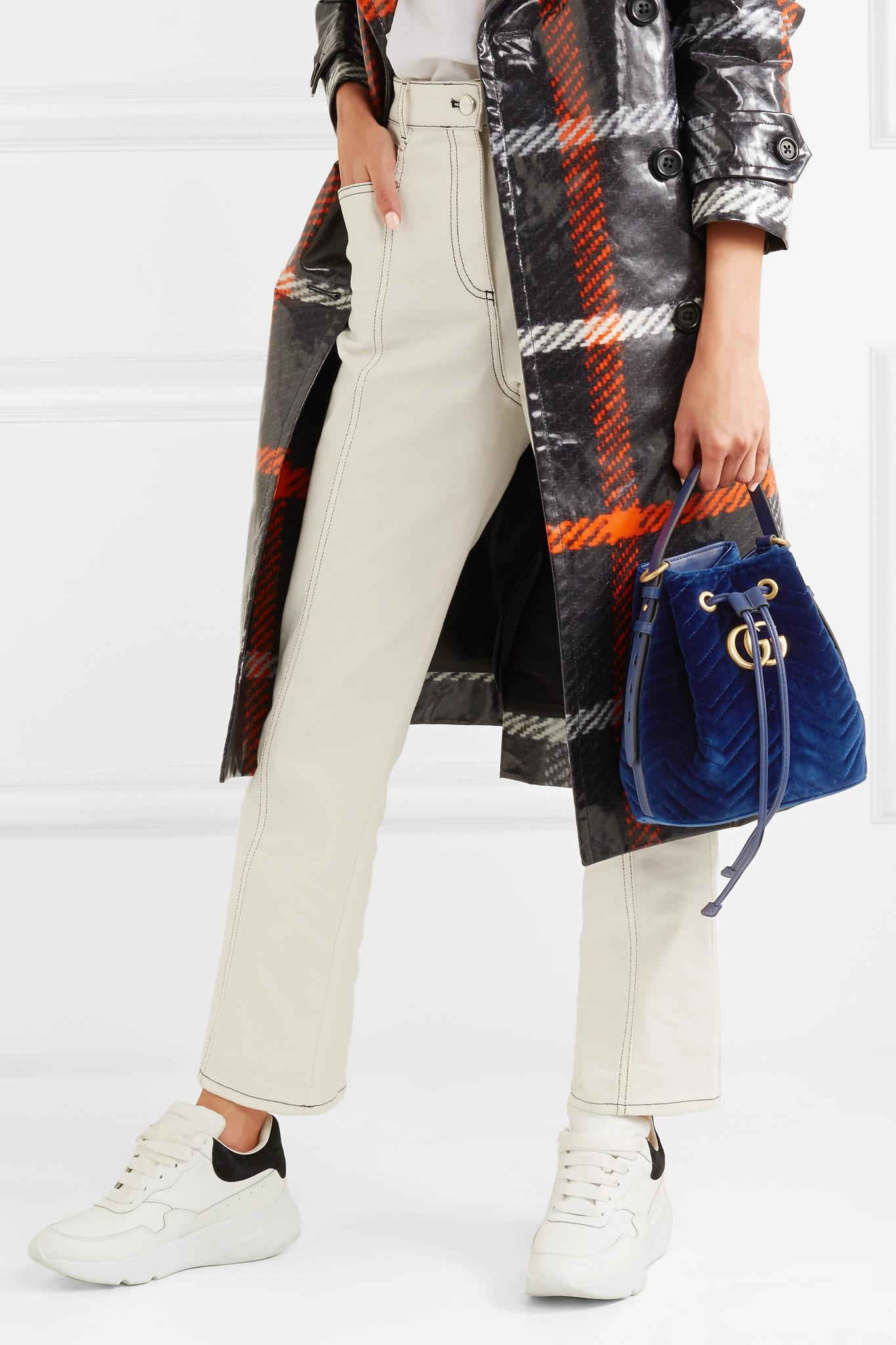 88580576085 ... Gg Marmont Leather-trimmed Quilted Velvet Bucket Bag - Lyst. View  fullscreen