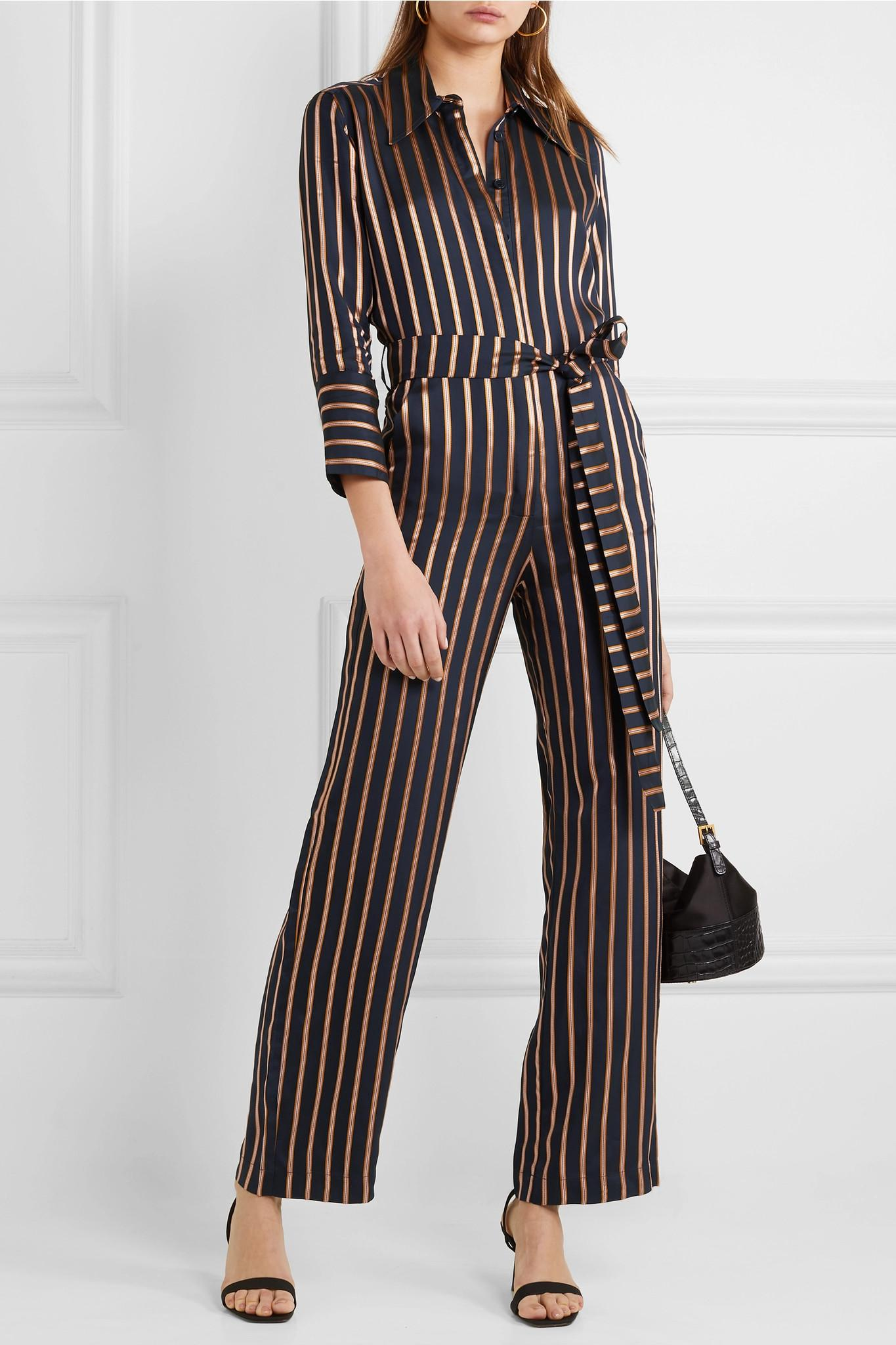 54981e6cc6e Lyst - M.i.h Jeans Dexy Belted Striped Jacquard Jumpsuit in Blue
