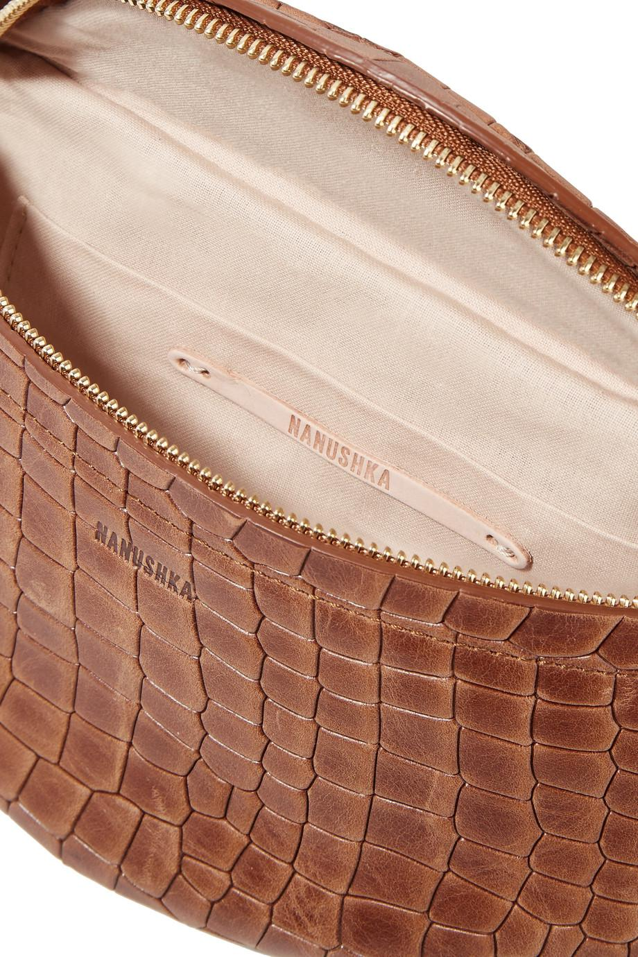 Lubo Croc-effect Leather Belt Bag - Brown Nanushka FQNAHxByw