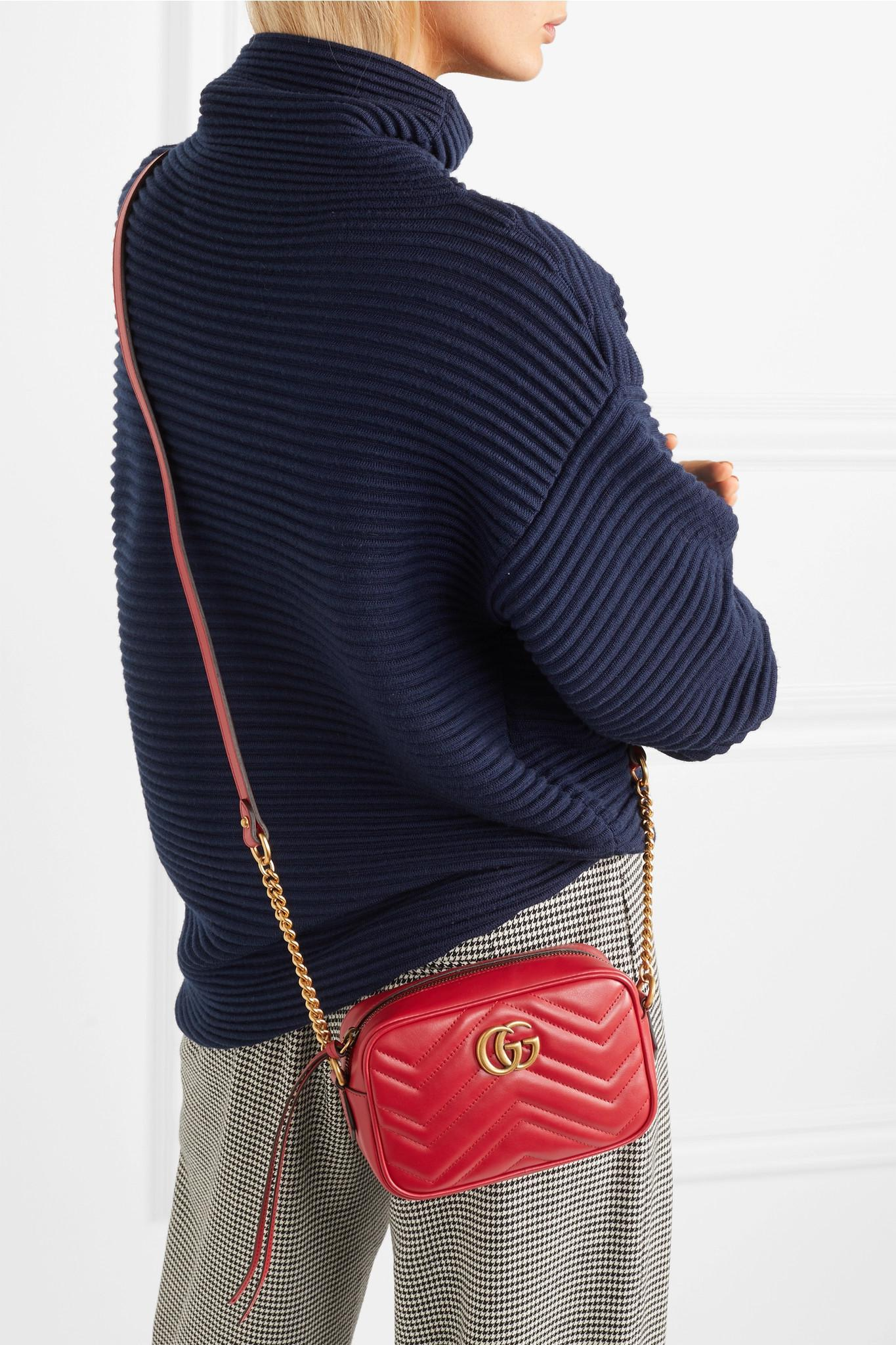 c41b0d6dde10 Gucci Gg Marmont Camera Mini Quilted Leather Shoulder Bag in Red - Lyst