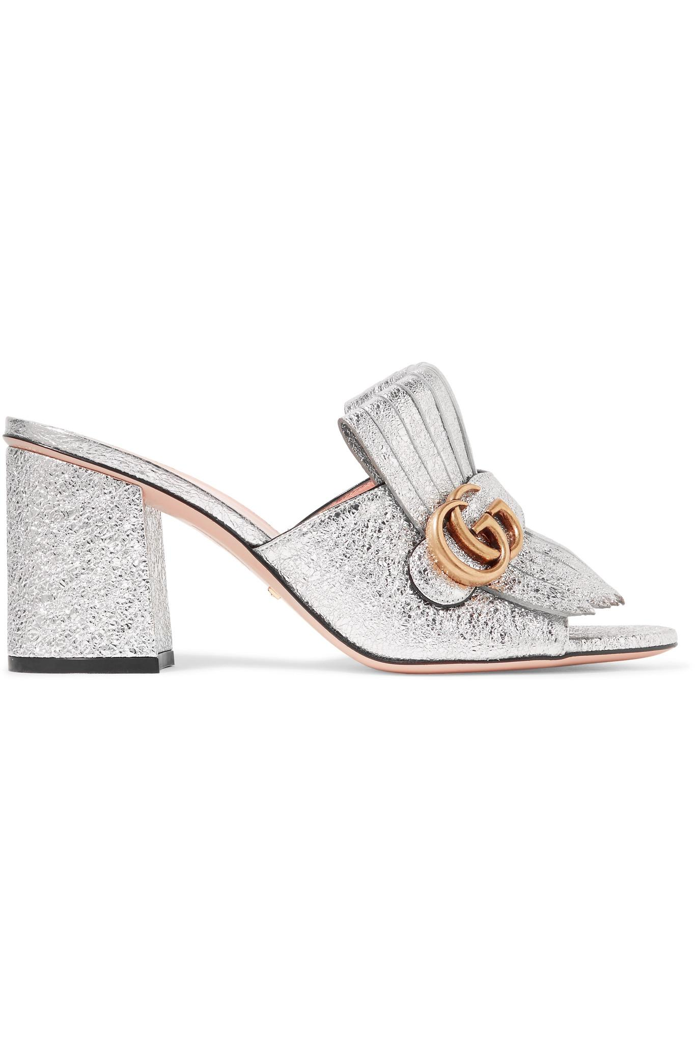 f5ada14fa90 Gucci. Women s Marmont Fringed Logo-embellished Metallic Cracked-leather  Mules