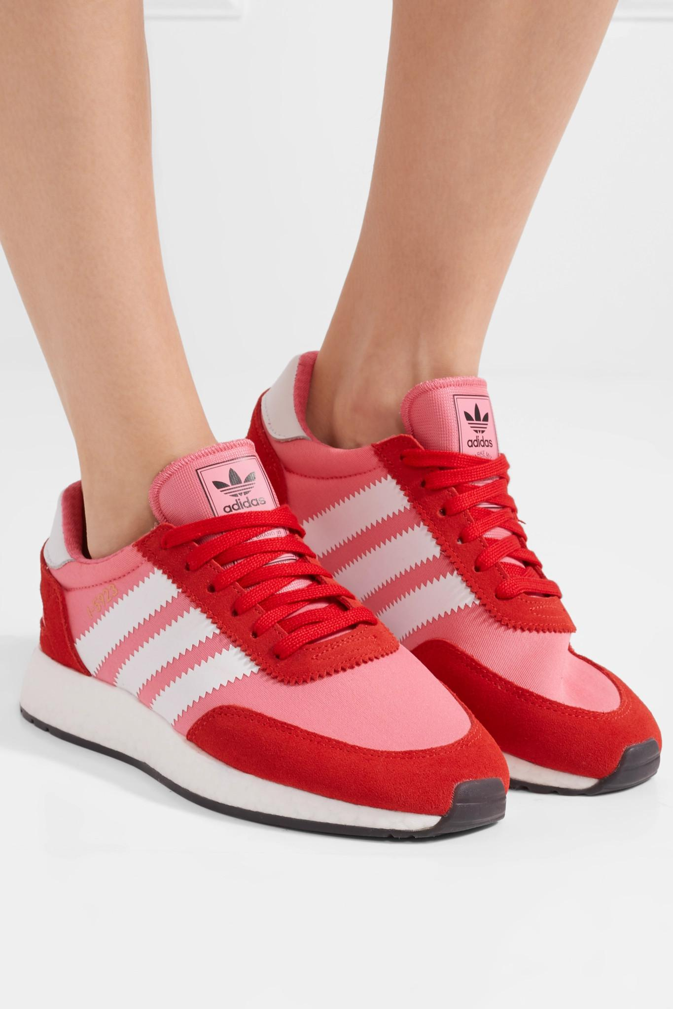 8c5e446b8b2420 Lyst - adidas Originals I-5923 Neoprene And Suede Sneakers in Pink