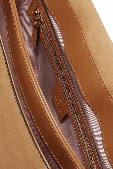 1fc0bb73d8d2 Gucci Arli Medium Leather-trimmed Suede Shoulder Bag in Brown - Lyst