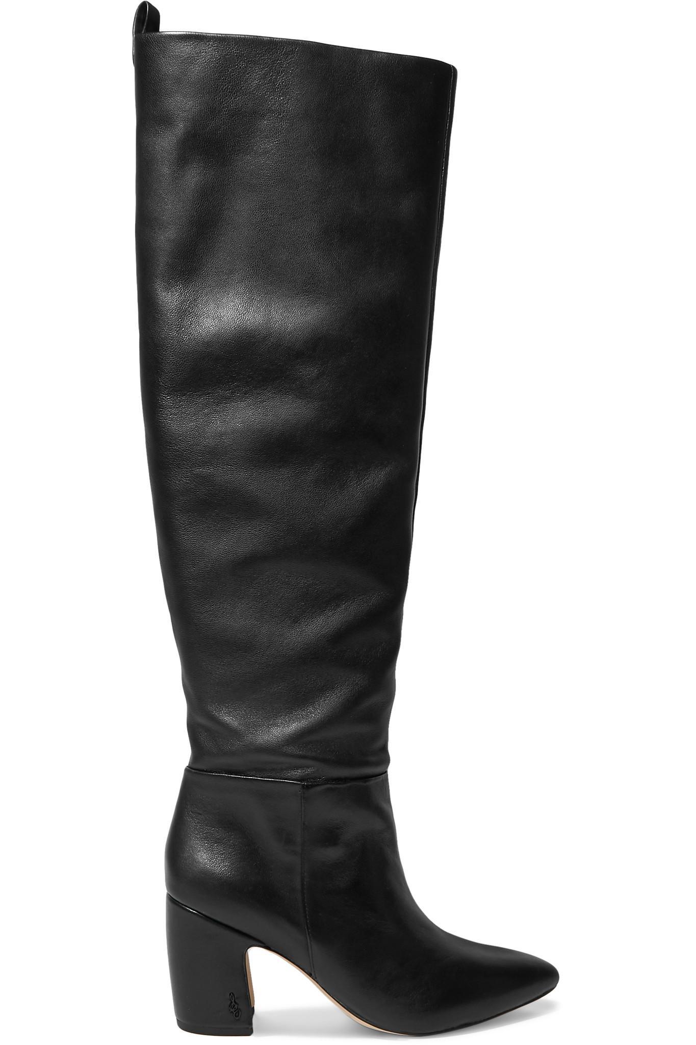 6dd690e563ee83 Sam Edelman Hutton Leather Knee Boots in Black - Lyst