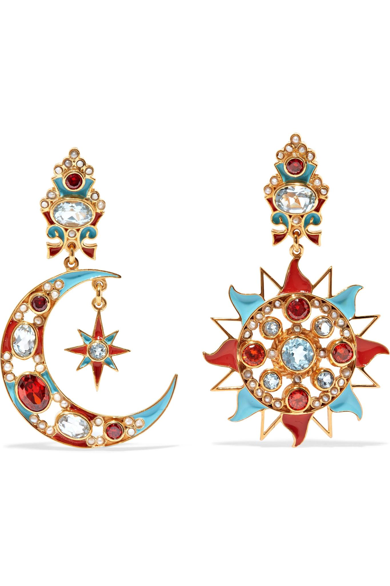 Percossi Papi Gold-plated Multi-stone Clip Earrings - Turquoise 5jOv323XA