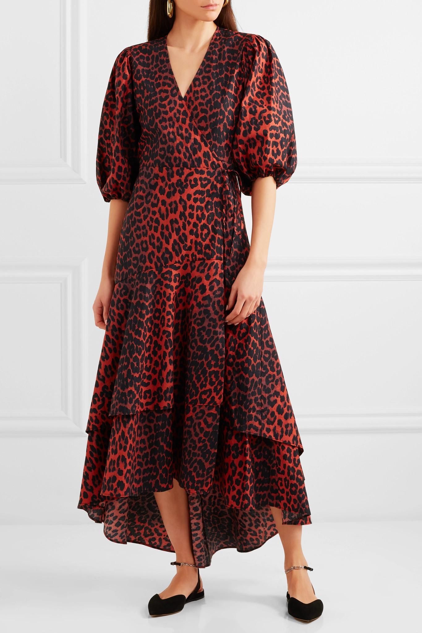 f7b4afd365b Ganni Bijou Leopard-print Cotton-poplin Wrap Dress - Lyst