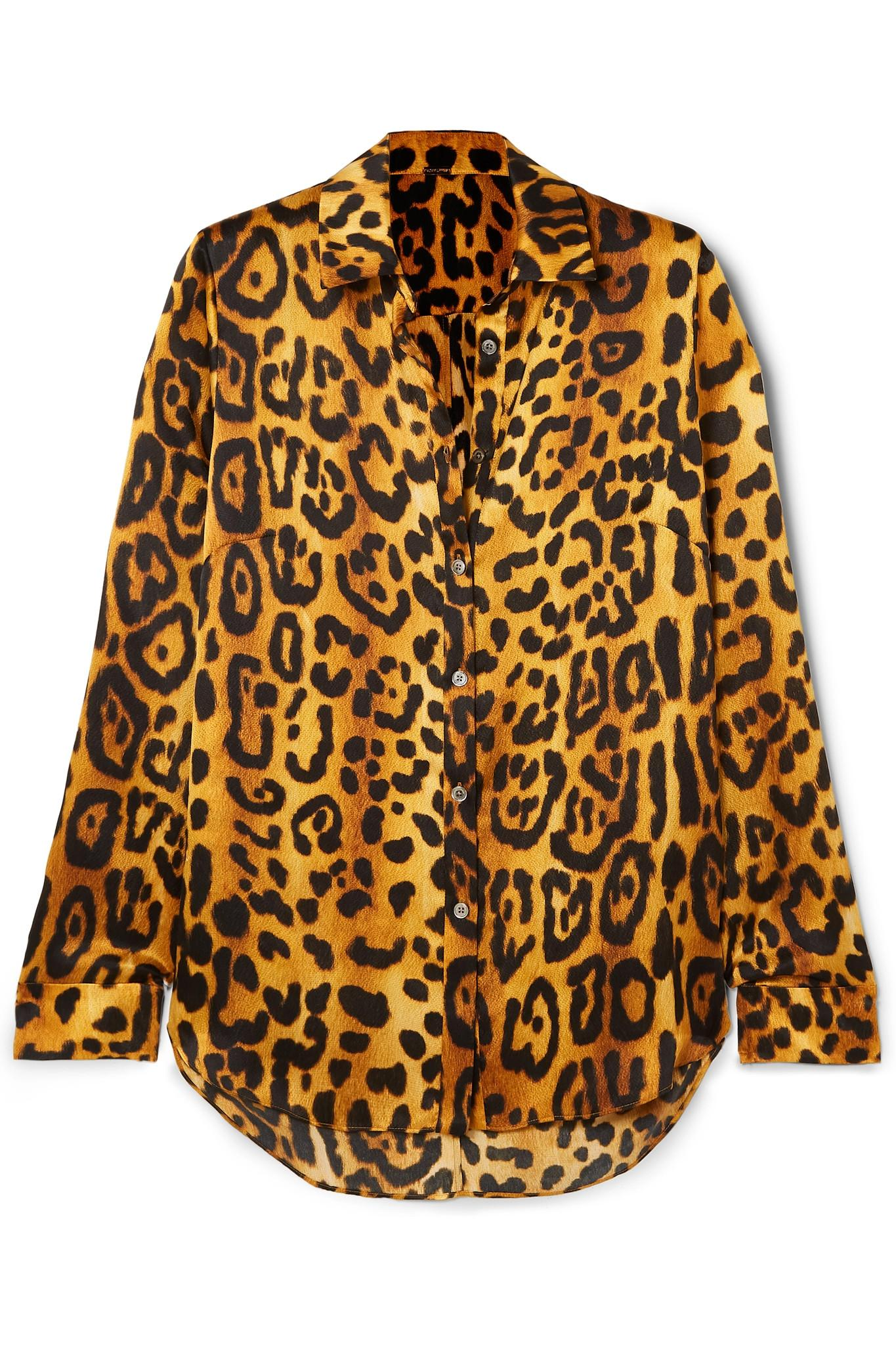 90fb66dde0a60 Lyst - Adam Lippes Leopard-print Hammered Silk-crepe Shirt in Brown