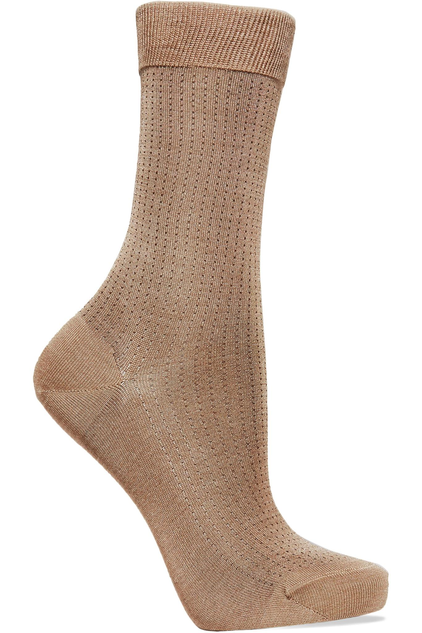 No.2 Pointelle Silk-blend Socks - Taupe Falke Shop Offer Online Cheap The Cheapest Clearance Store E2IYvW