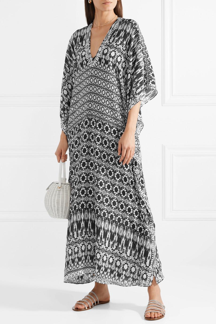 Boubou Embroidered Silk Crepe De Chine Kaftan - Black Marie France Van Damme mbKVnhEVJ8