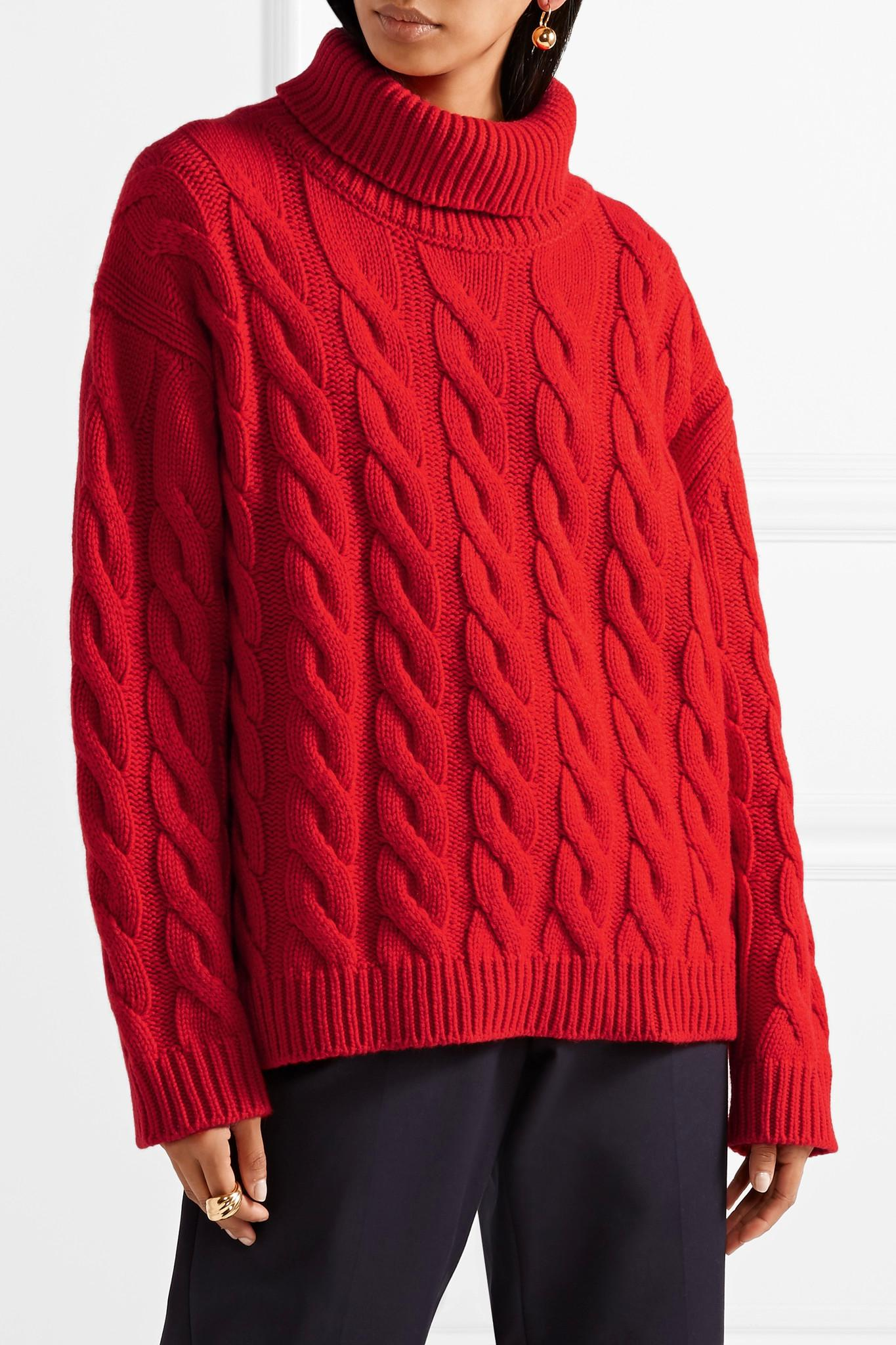 Mansur gavriel Cable-knit Cashmere Turtleneck Sweater in Red | Lyst