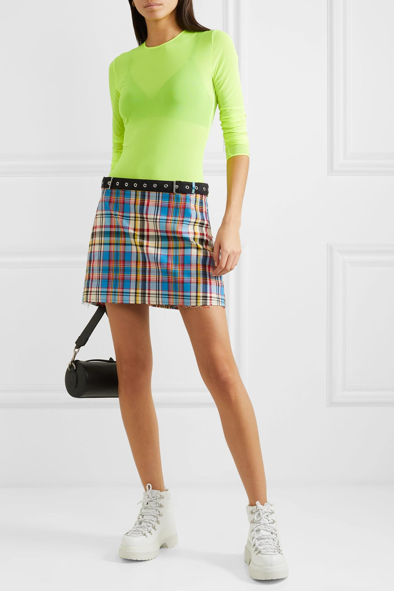 6d8f20cefb Marques'Almeida - Blue Belted Check Mini Skirt - Lyst. View fullscreen