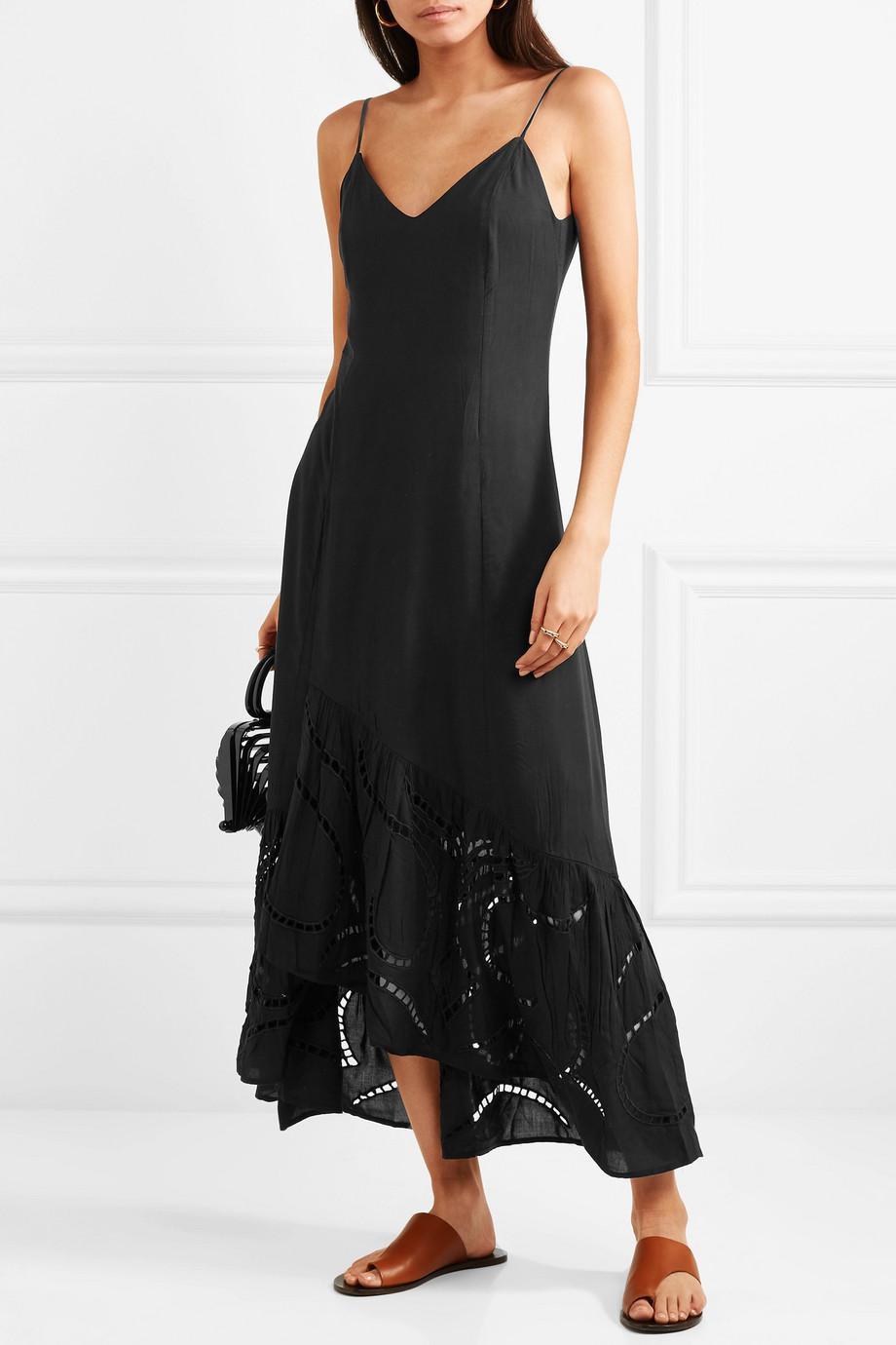 Elma Broderie Anglaise-paneled Voile Maxi Dress - Black Vix RzxksNUy5