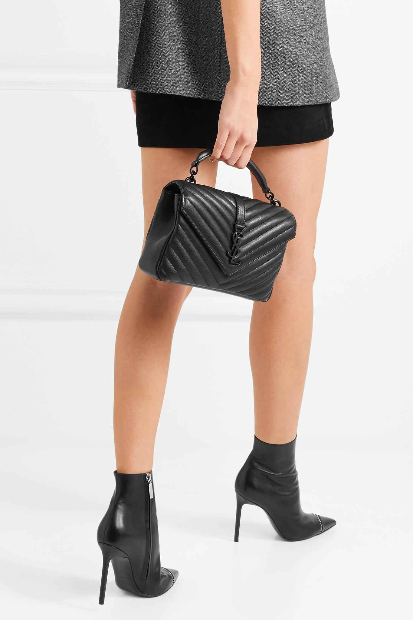 f2109b4820 Saint Laurent - Black College Medium Quilted Leather Shoulder Bag - Lyst.  View fullscreen