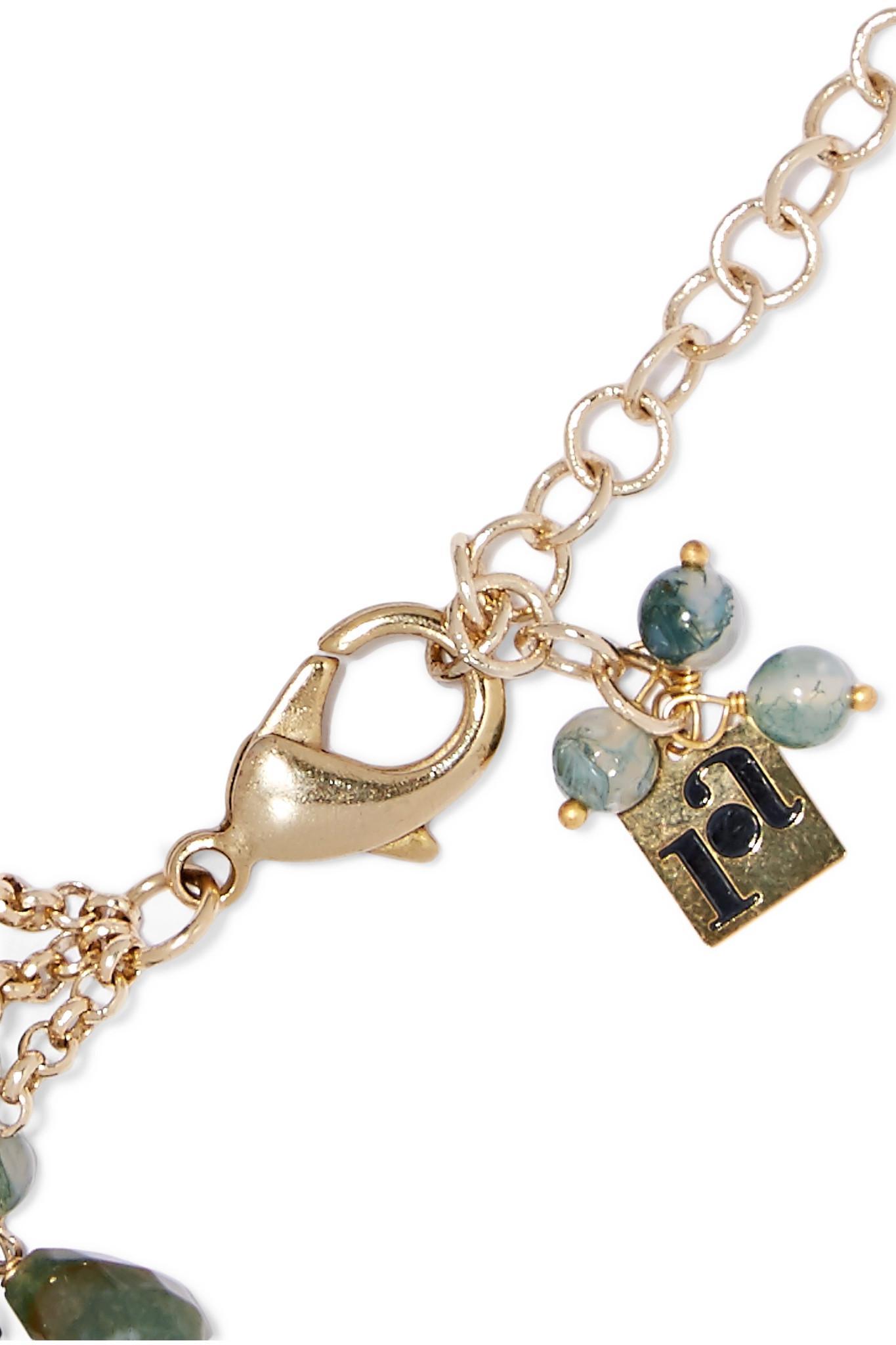 Rifugio Gold-tone Agate Necklace - Green Rosantica kr0JENB