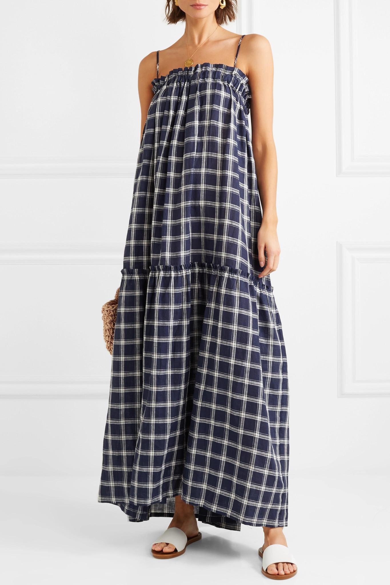 2098cb62aa3 Lee Mathews - Blue Nellie Checked Cotton Maxi Dress - Lyst. View fullscreen