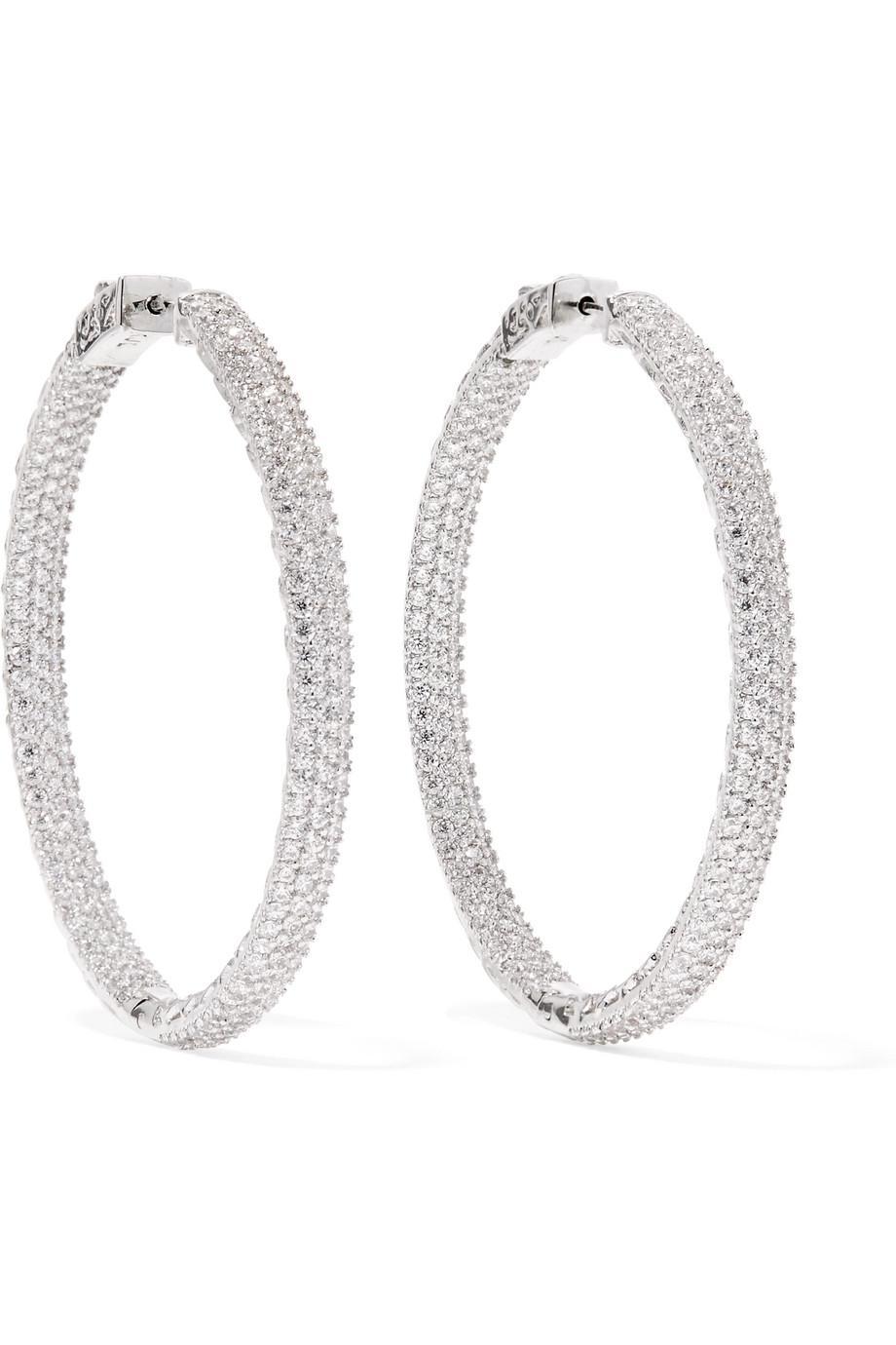 Kenneth Jay Lane Rhodium-plated Crystal Hoop Earrings - Silver nwfpRq3k