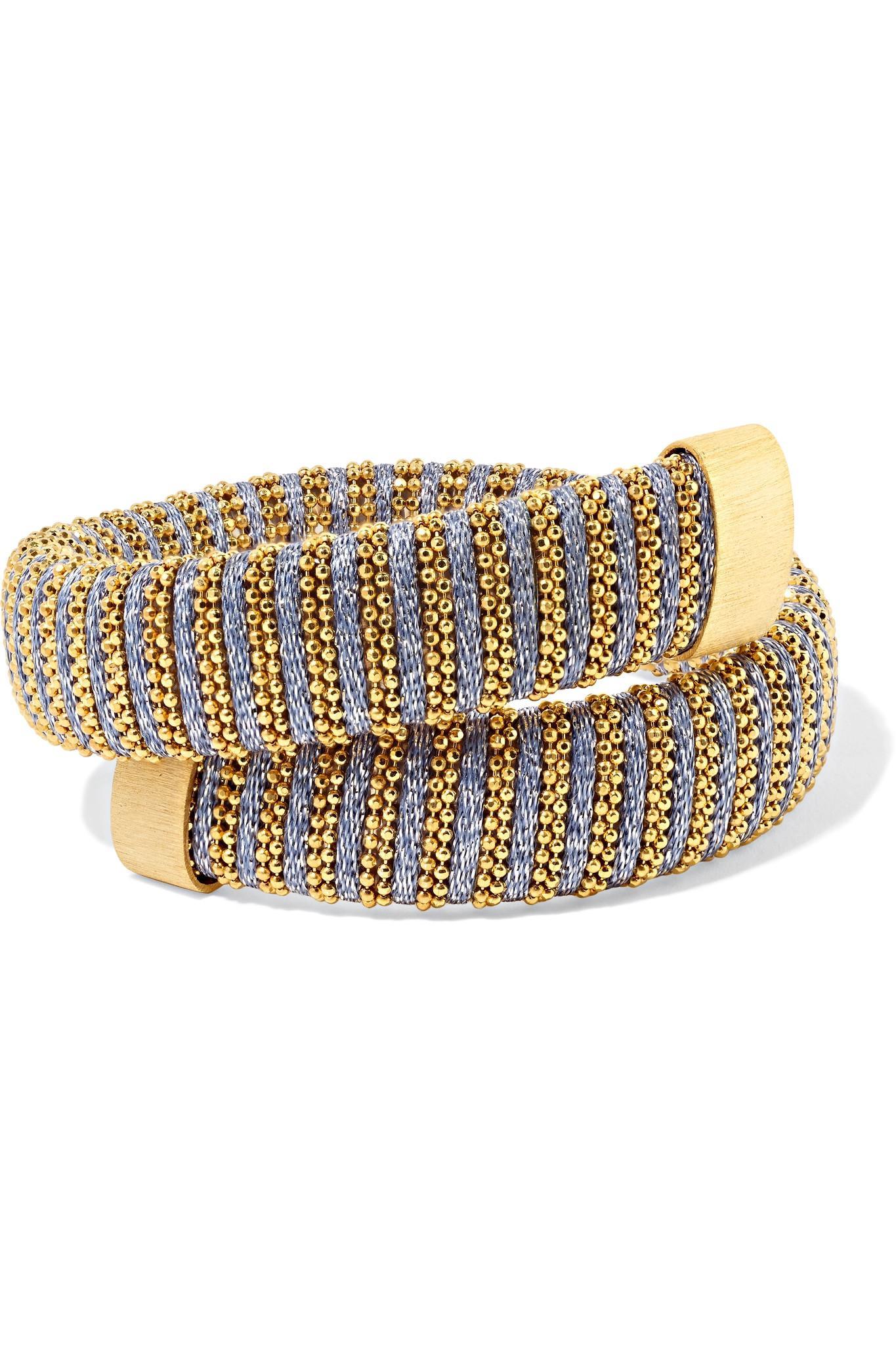 Carolina Bucci Caro Gold-plated And Metallic Cotton Bracelet XesIa9