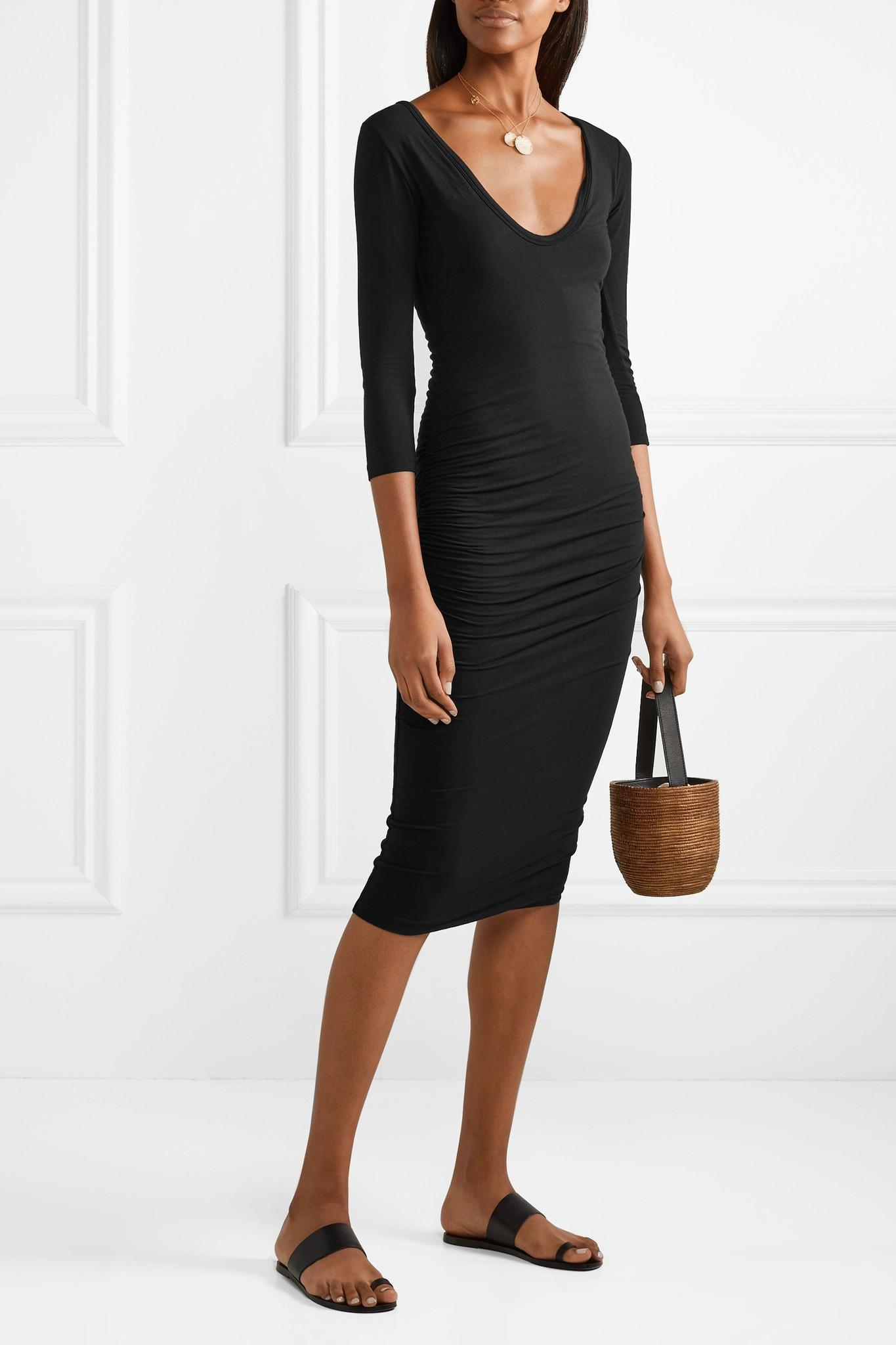 3a11a2b1151 James Perse - Black Ruched Stretch-cotton Jersey Dress - Lyst. View  fullscreen